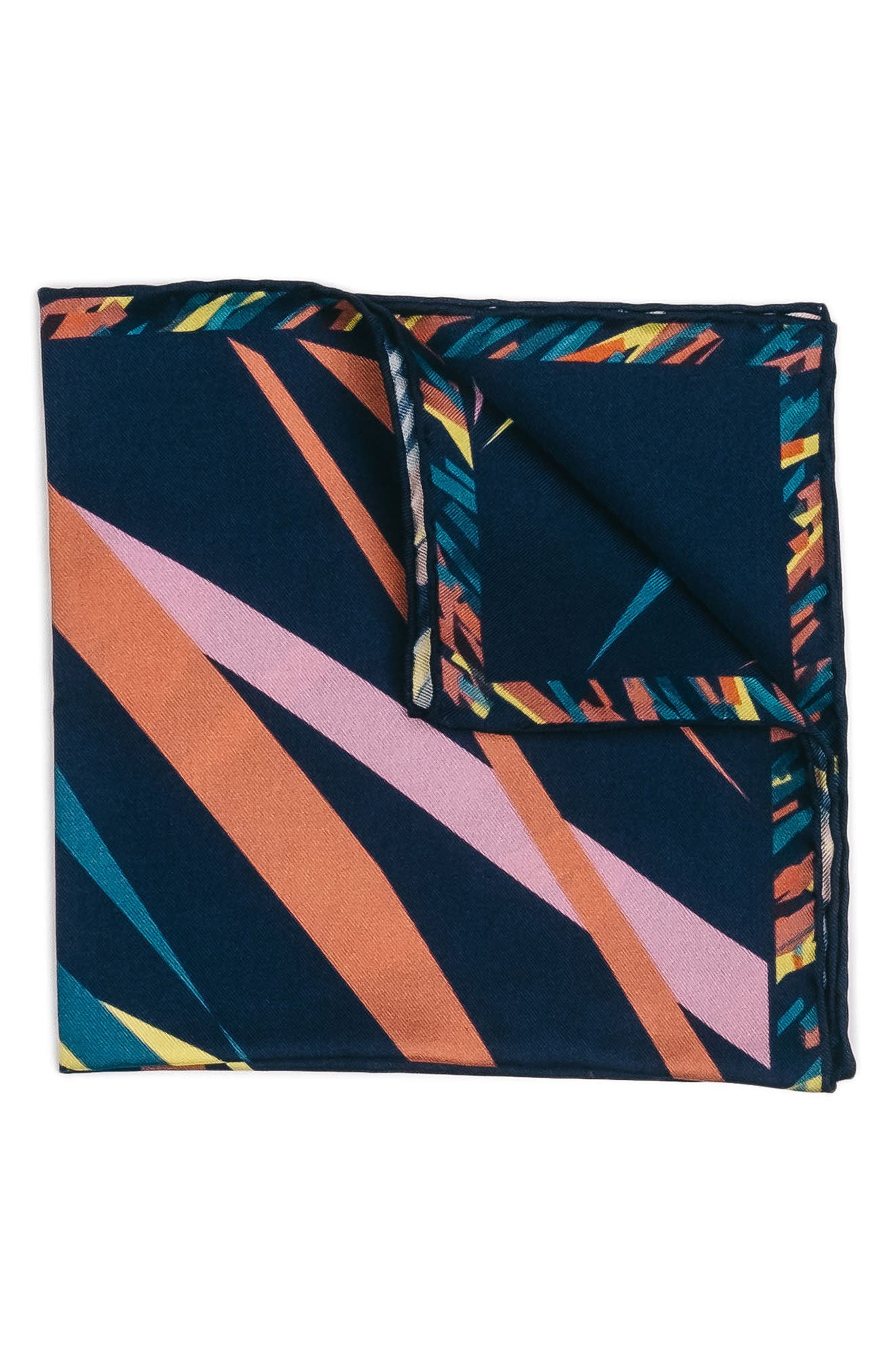 Far Out Print Silk Pocket Square,                         Main,                         color, 410
