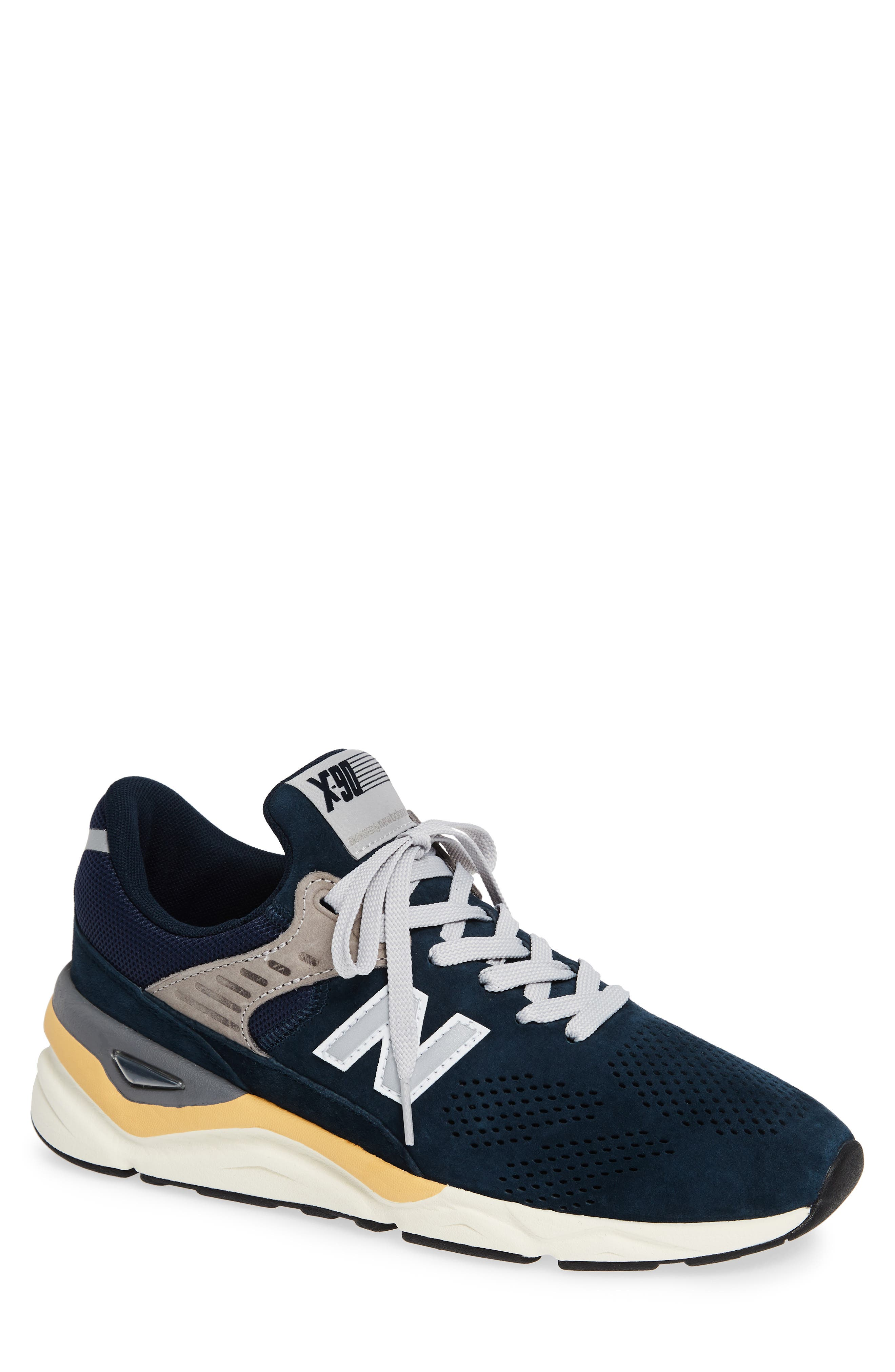 X-90 Leather Sneaker,                         Main,                         color, NAVY SUEDE
