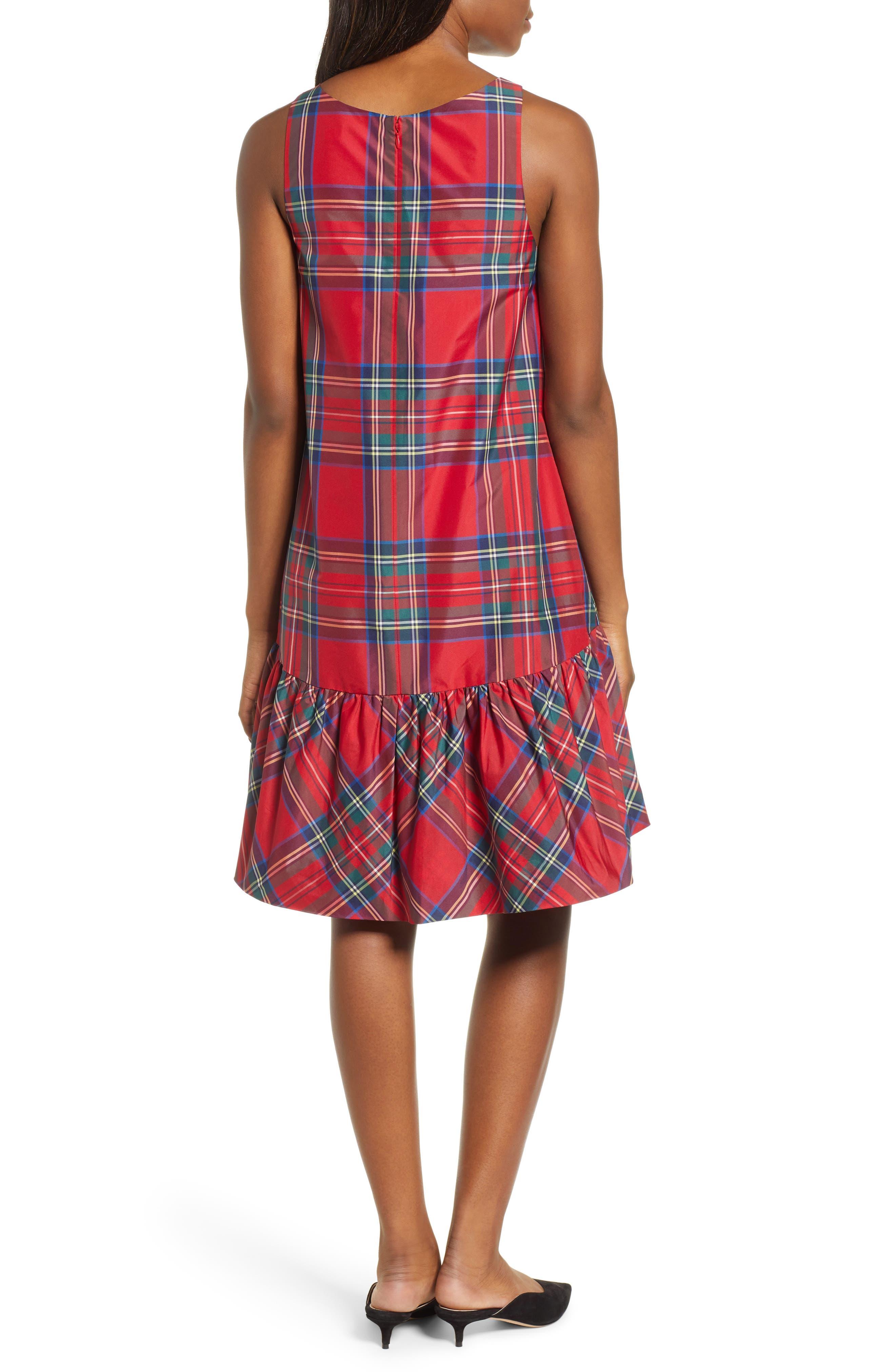 Amelia Jolly Plaid Swing Dress,                             Alternate thumbnail 2, color,                             CALYPSO RED