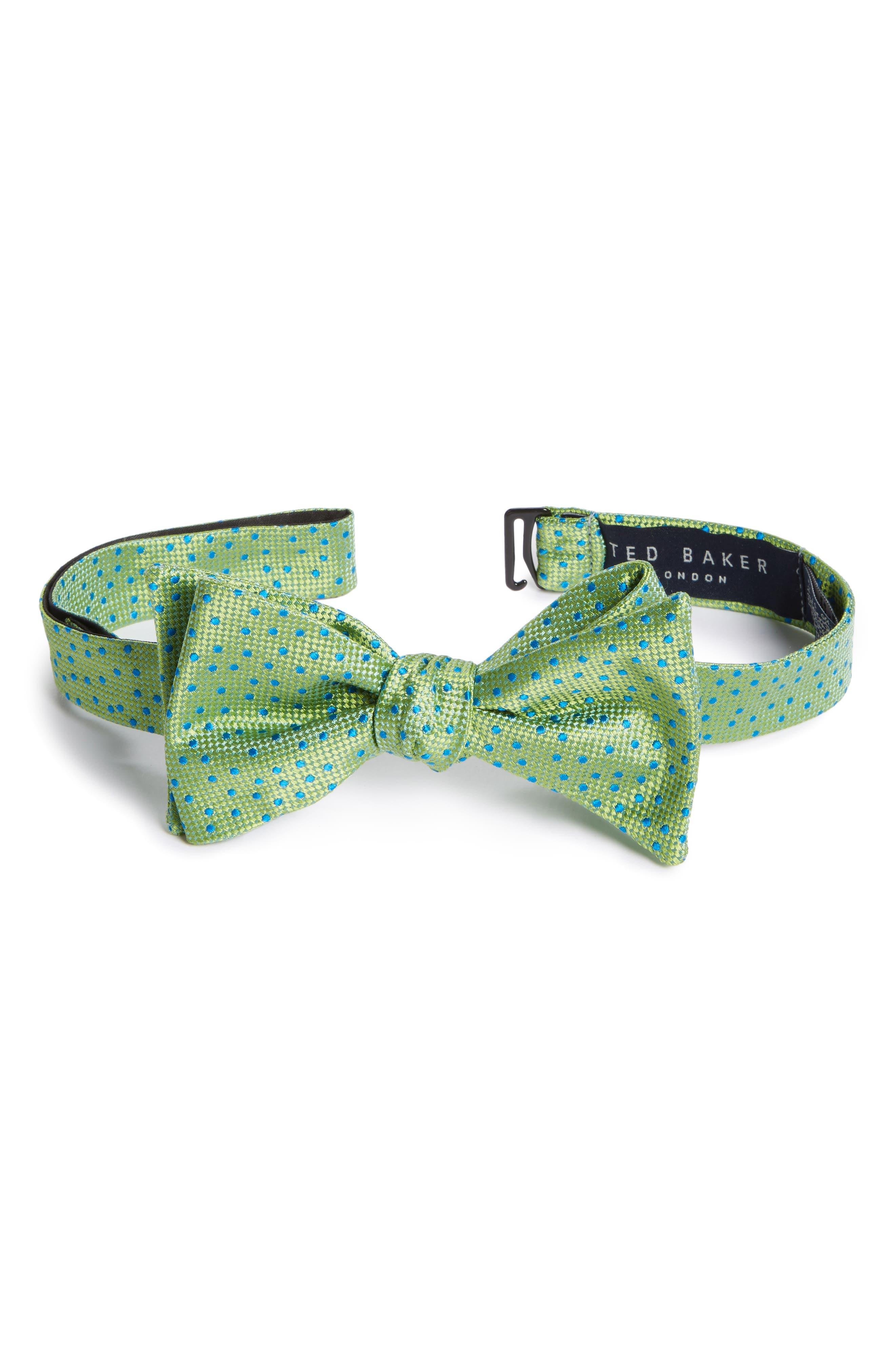 Jacquard Micro Dot Silk Bow Tie,                         Main,                         color, 300
