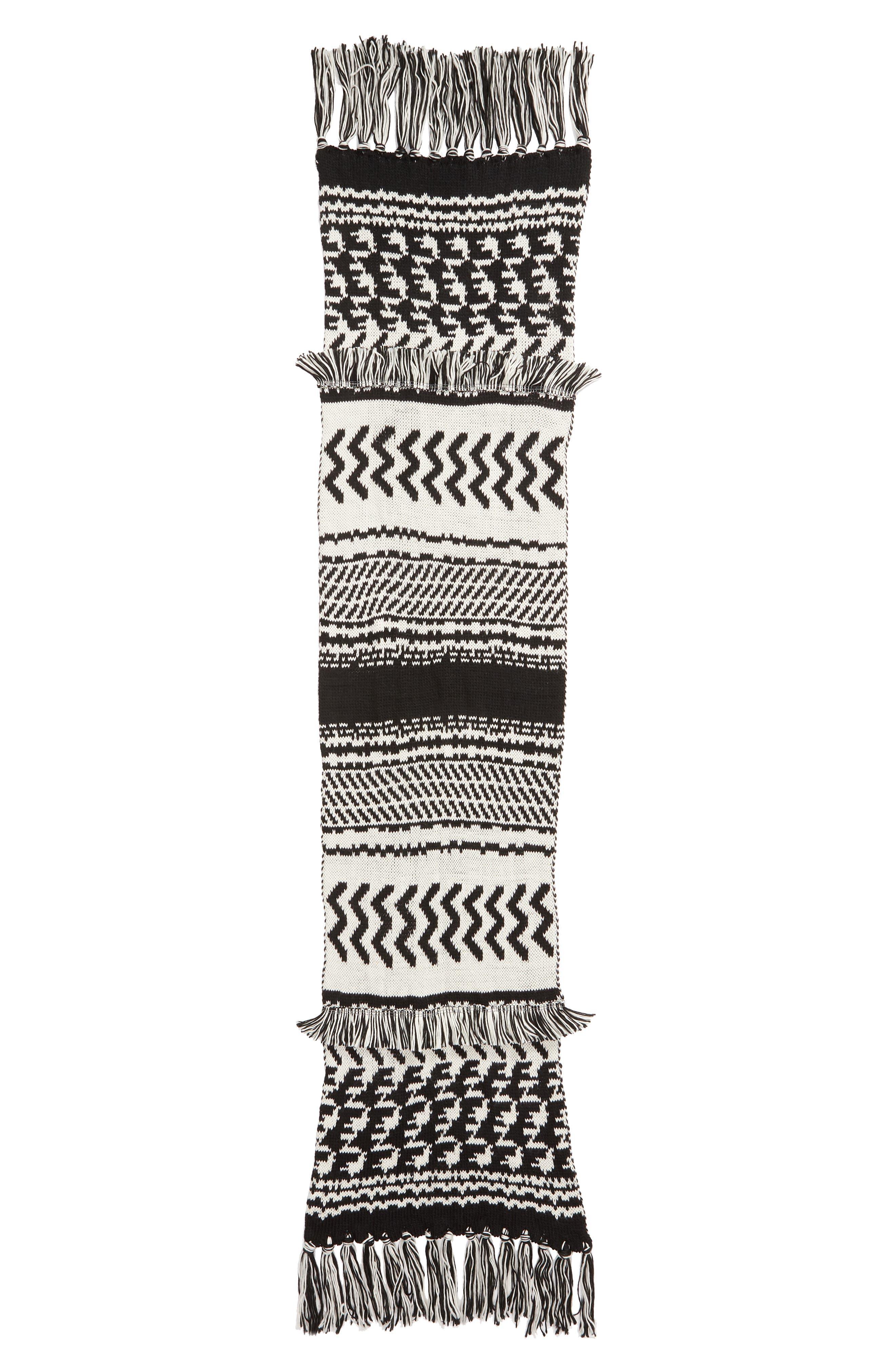 Mile High Fleece Fringe Scarf,                             Alternate thumbnail 3, color,                             BLACK AND WHITE COMBO