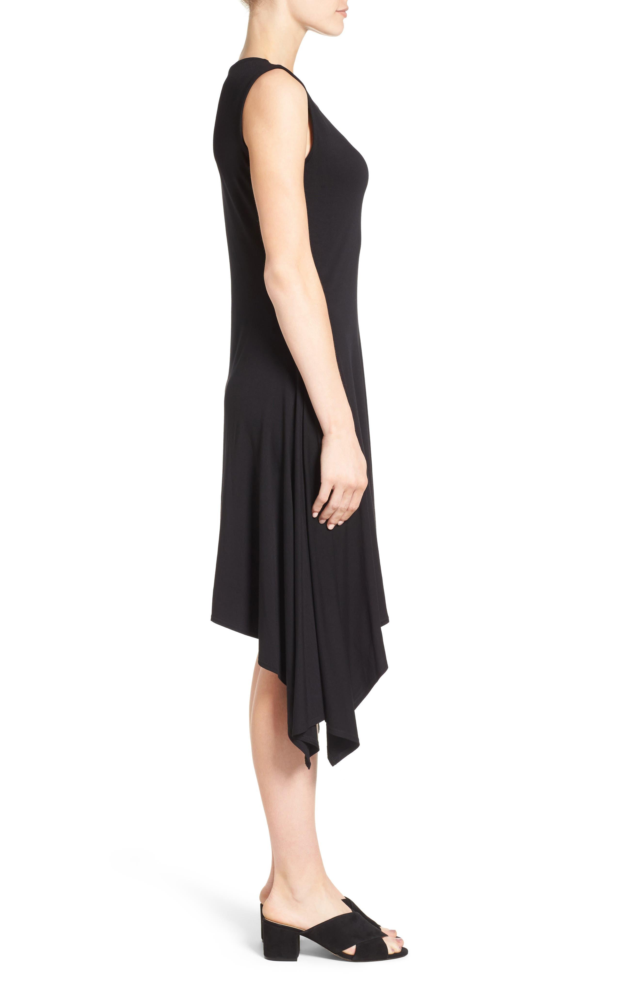 Stretch Knit Shift Dress,                             Alternate thumbnail 3, color,                             RICH BLACK