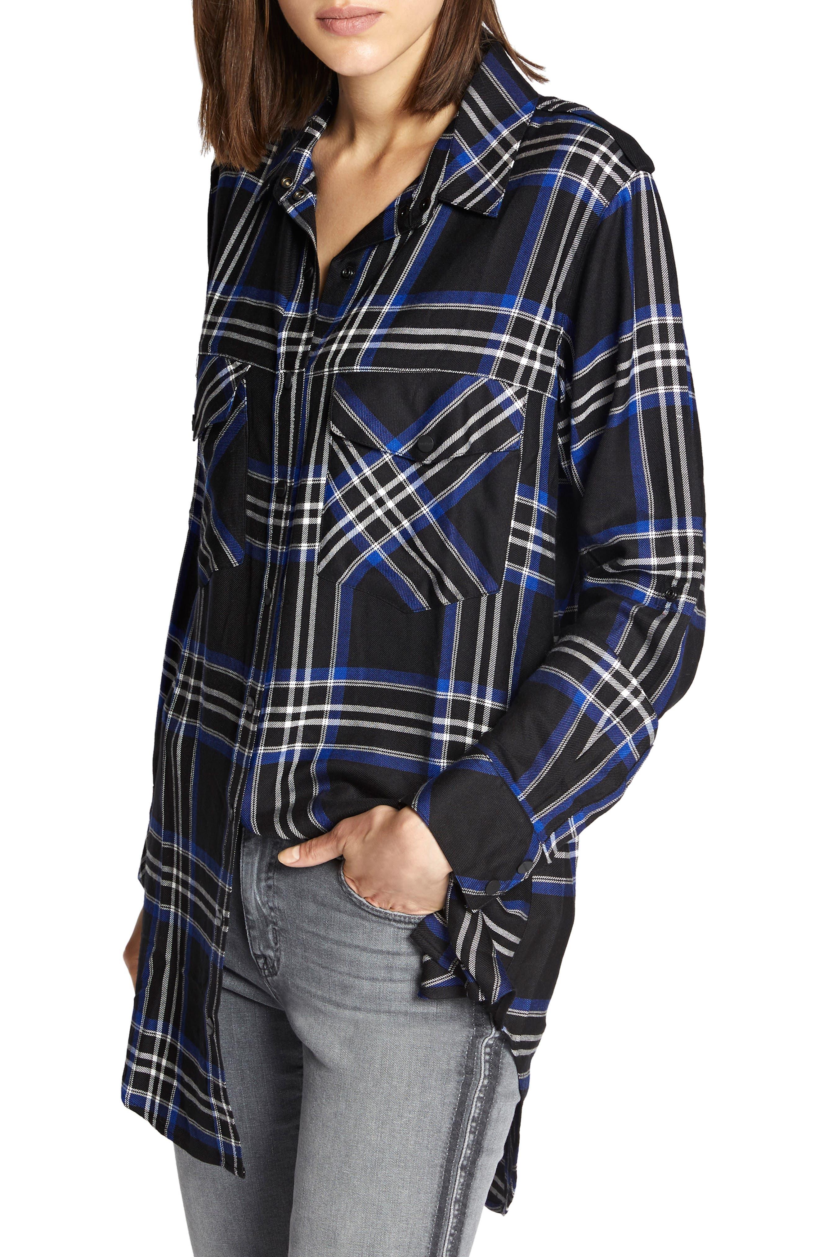 Sanctuary Main Street Plaid Boyfriend Tunic Shirt, Black