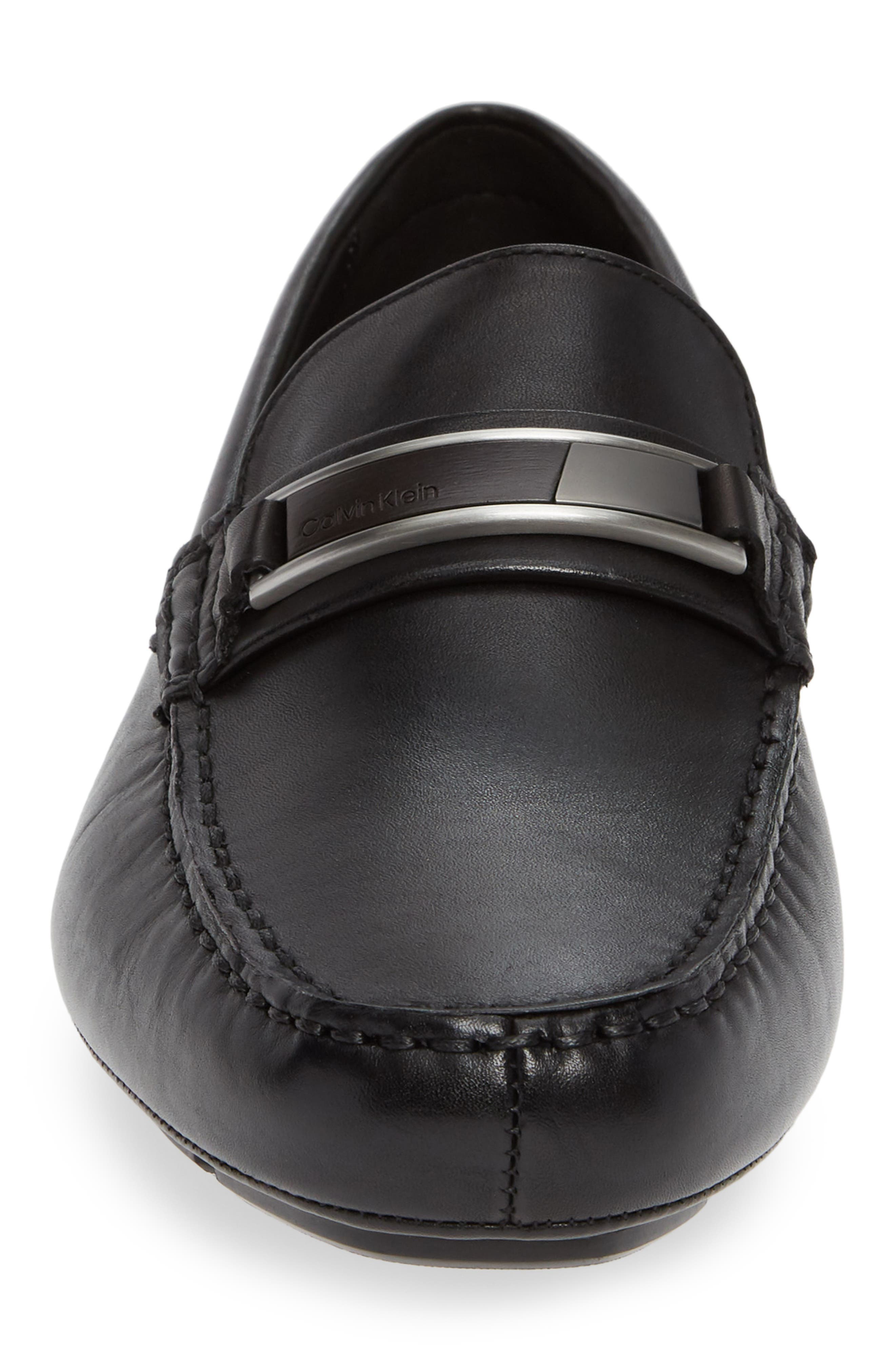 Kadison Buckle Driving Shoe,                             Alternate thumbnail 4, color,                             BLACK LEATHER