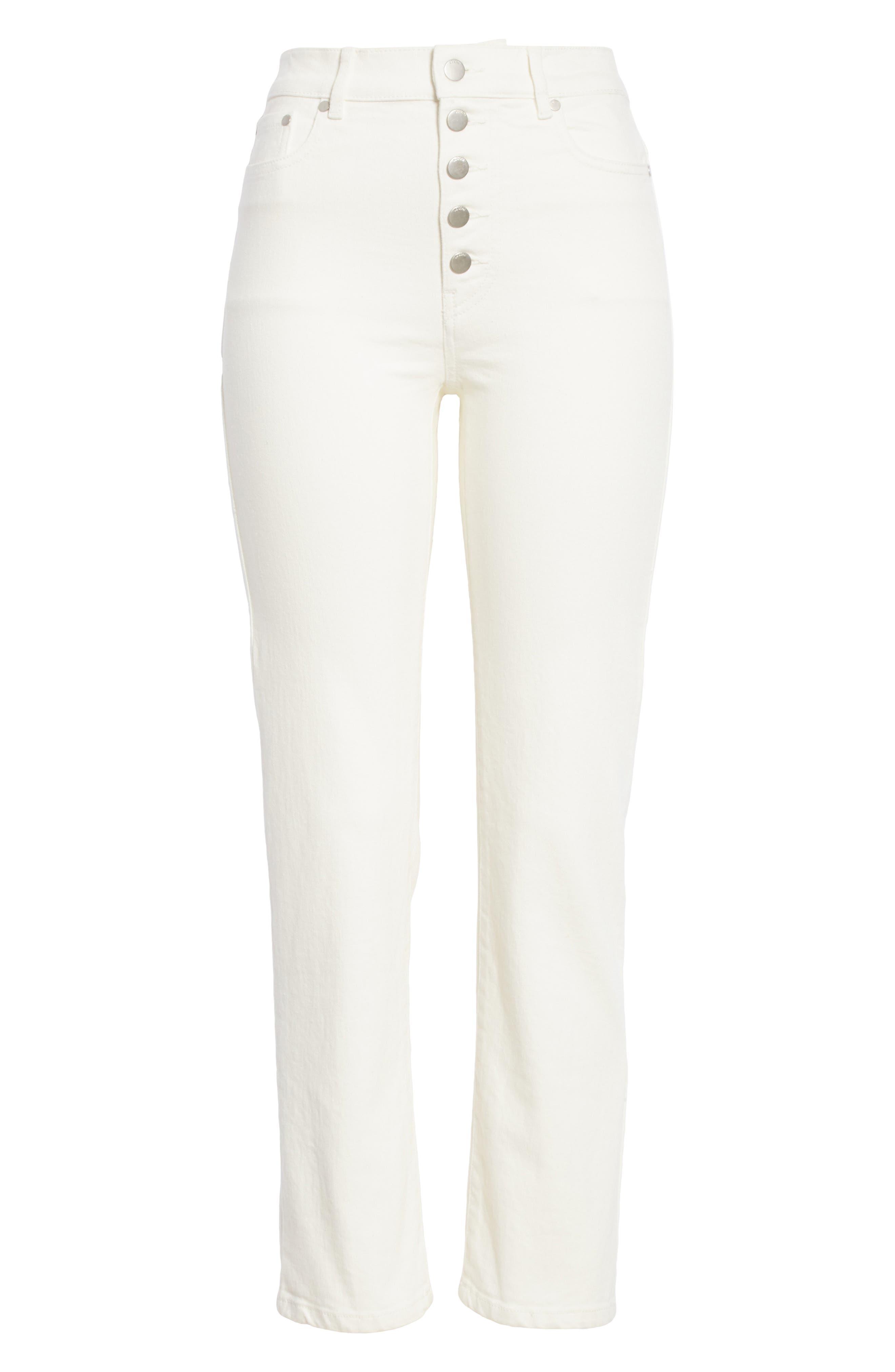 White Denim Jeans,                             Alternate thumbnail 6, color,                             100
