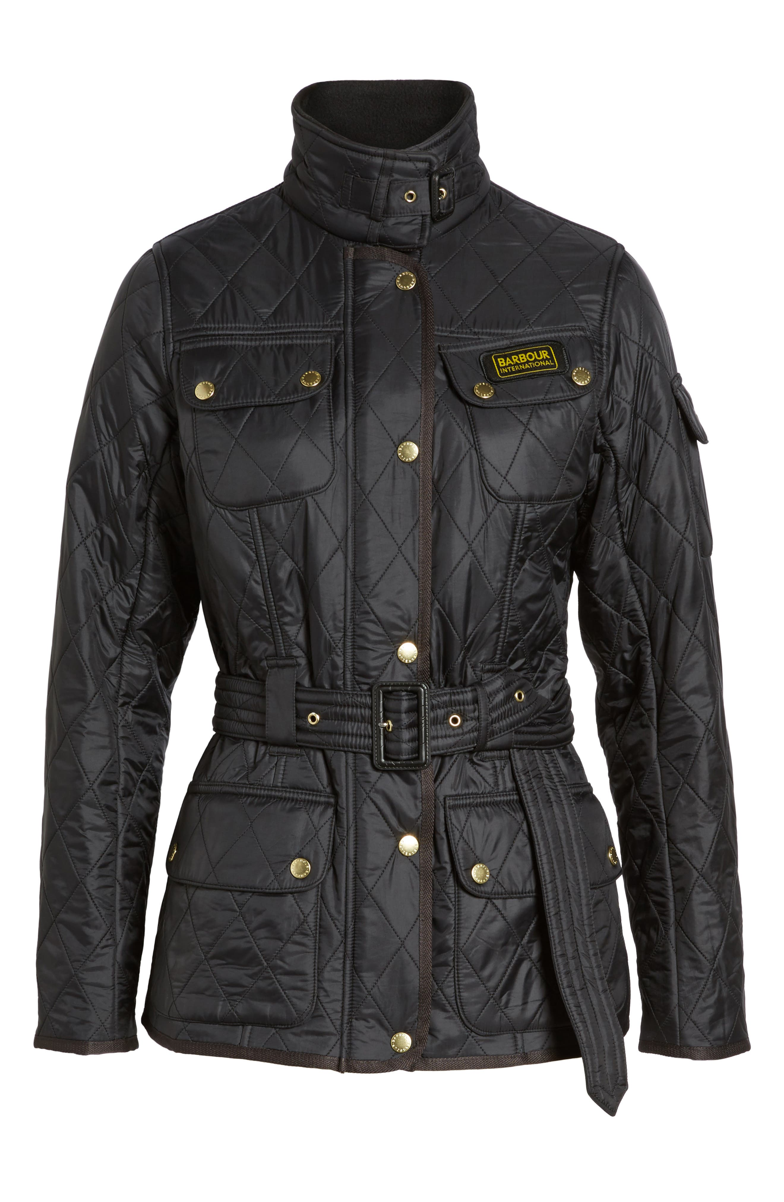 Water Resistant Polarquilt Moto Jacket,                             Alternate thumbnail 5, color,                             BLACK / BLACK