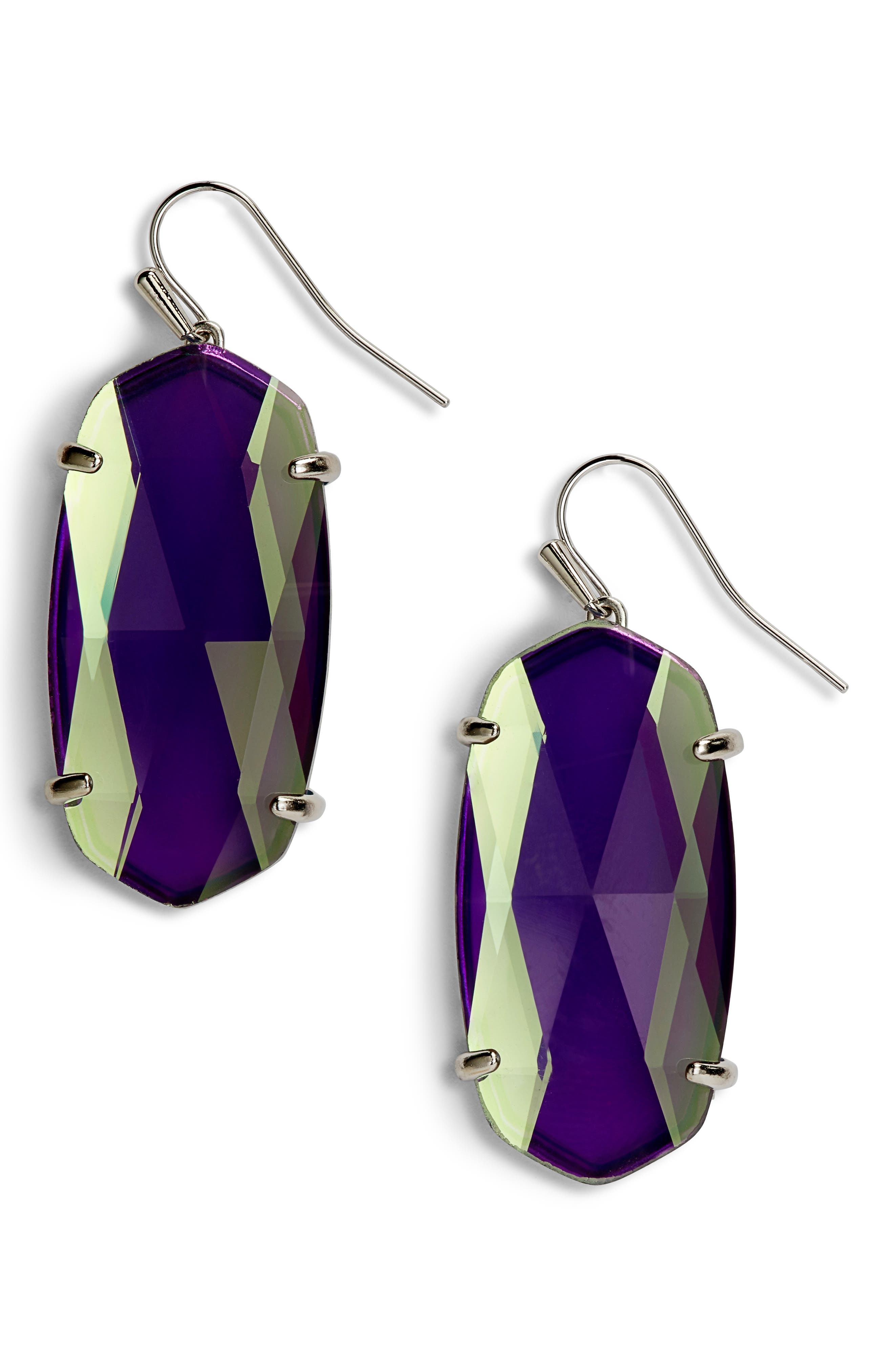 Esme Drop Earrings,                             Main thumbnail 1, color,                             GRAY DICHROIC GLASS/ SILVER