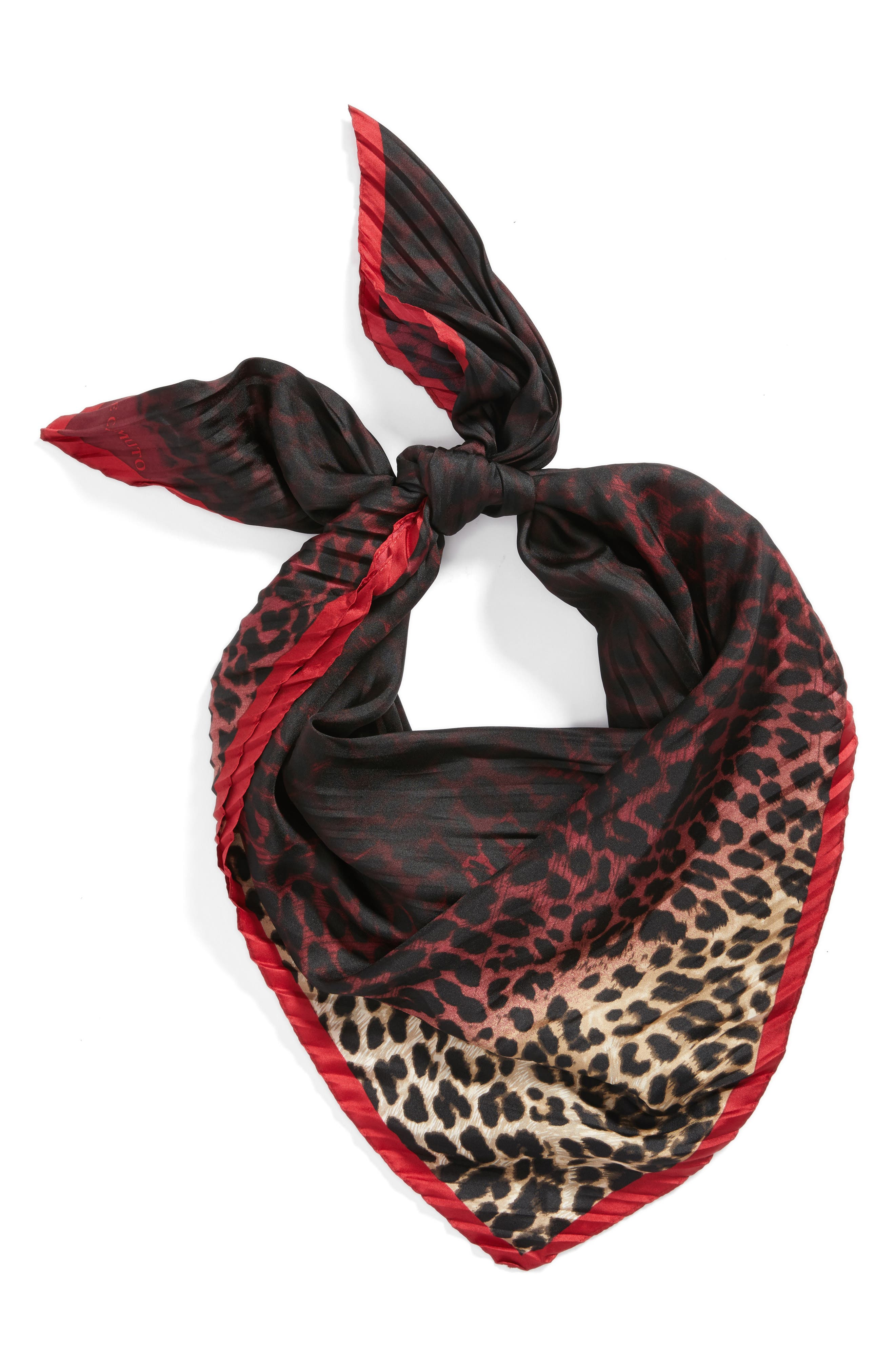 Ombré Leopard Silk Scarf,                             Alternate thumbnail 4, color,