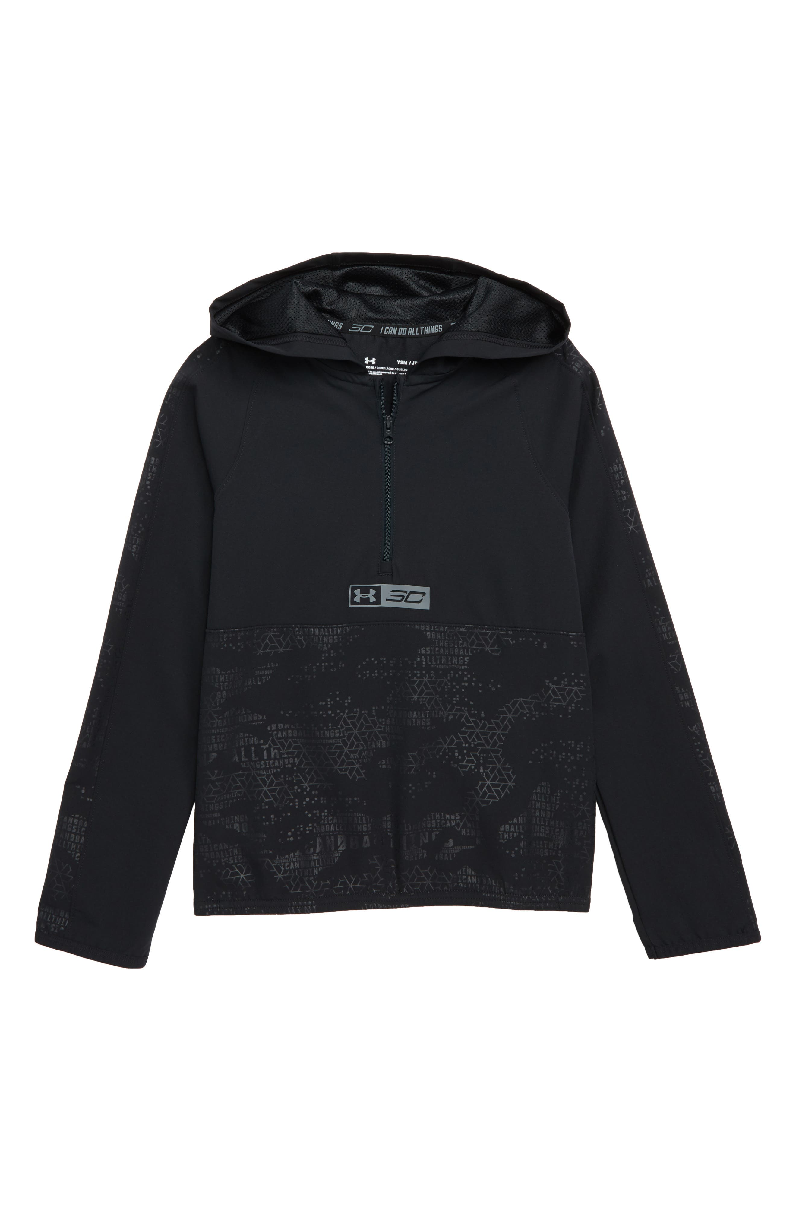 SC30 Windwear Hooded Pullover,                         Main,                         color, BLACK / / STEALTH GRAY