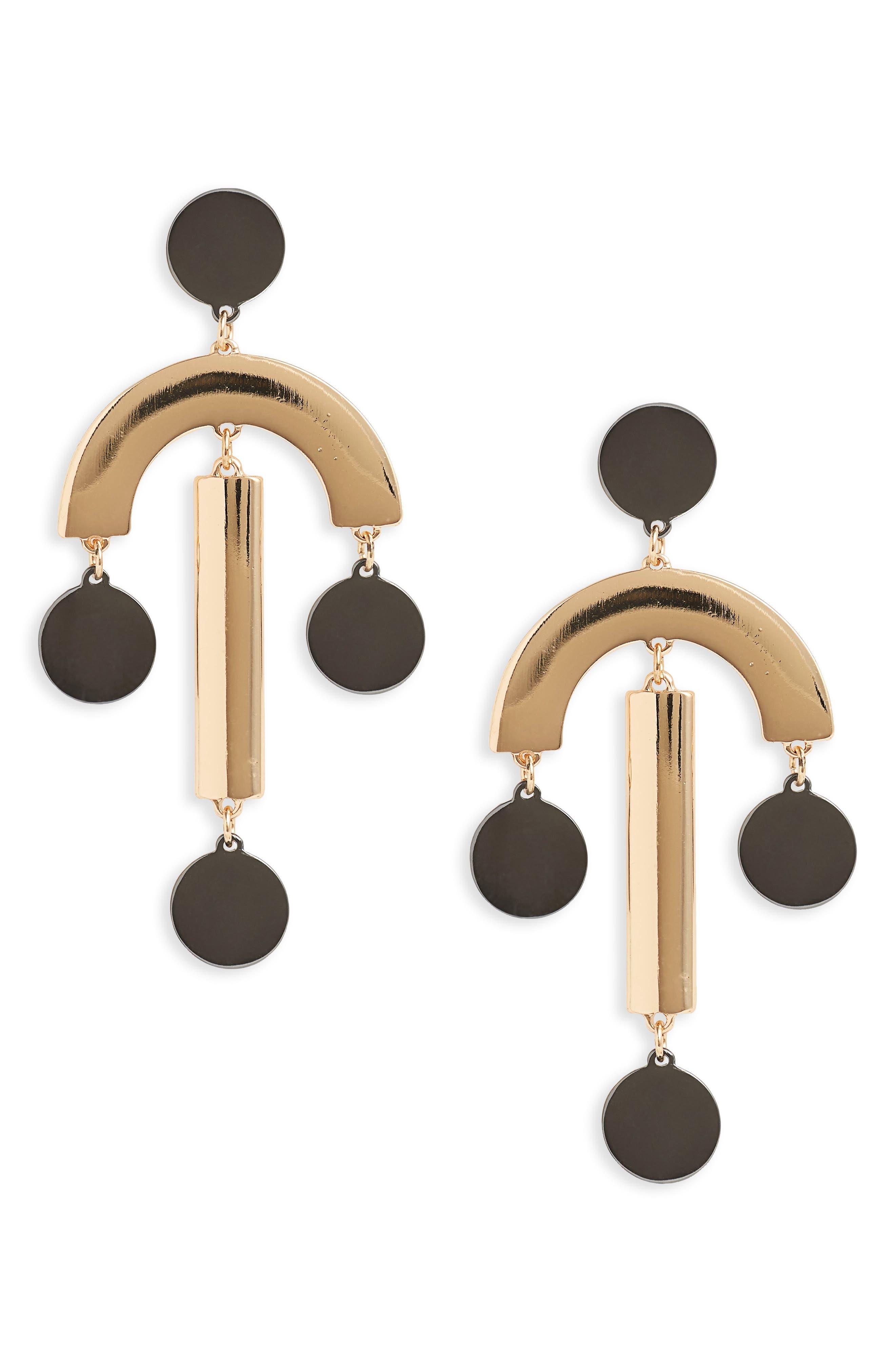 Geometric Statement Earrings,                             Main thumbnail 1, color,                             100