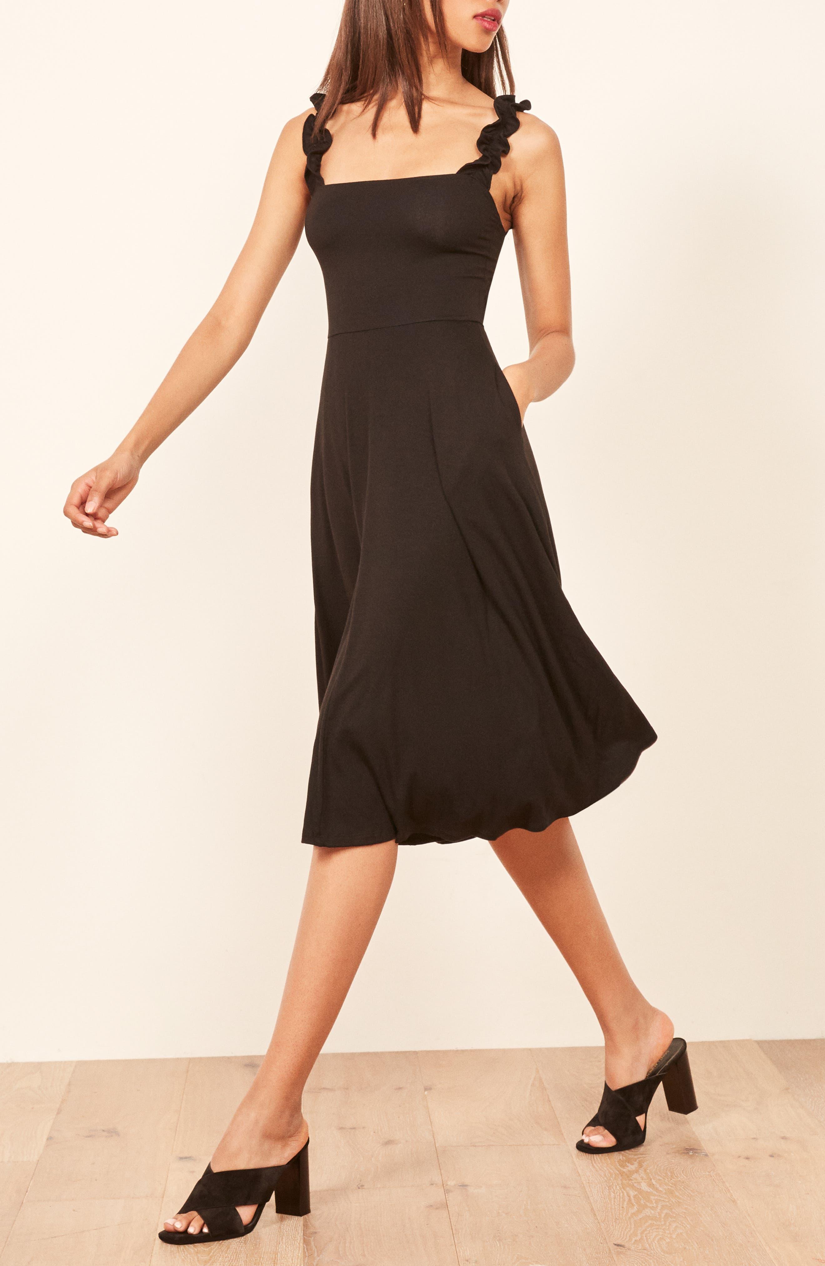 Eda Ruffle Strap Dress,                             Alternate thumbnail 4, color,                             BLACK