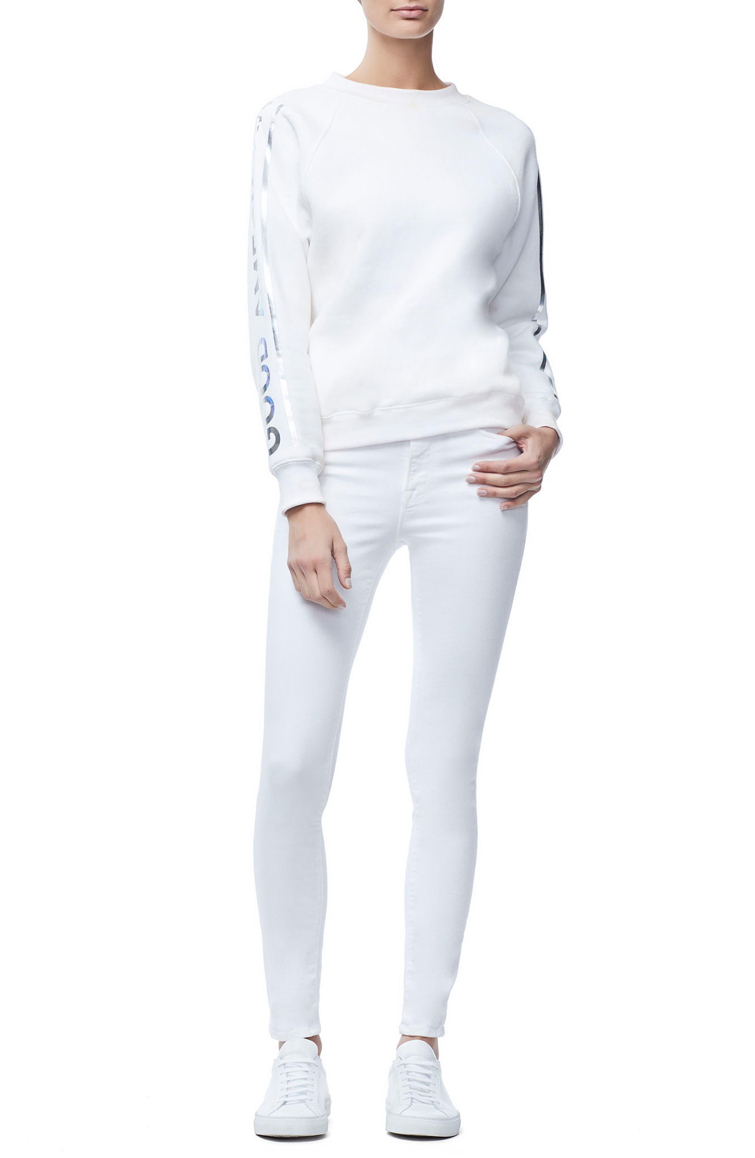 Crewneck Sweatshirt,                             Alternate thumbnail 6, color,                             WHITE