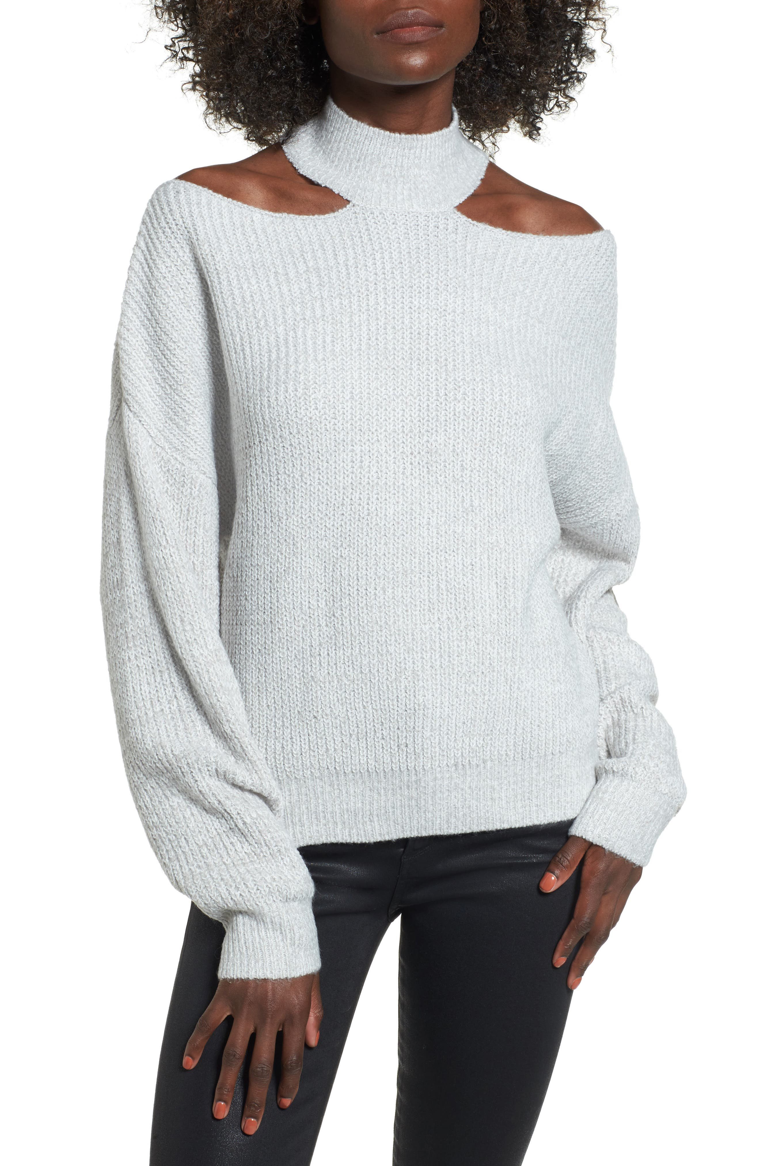 Cutout Turtleneck Sweater,                             Main thumbnail 2, color,