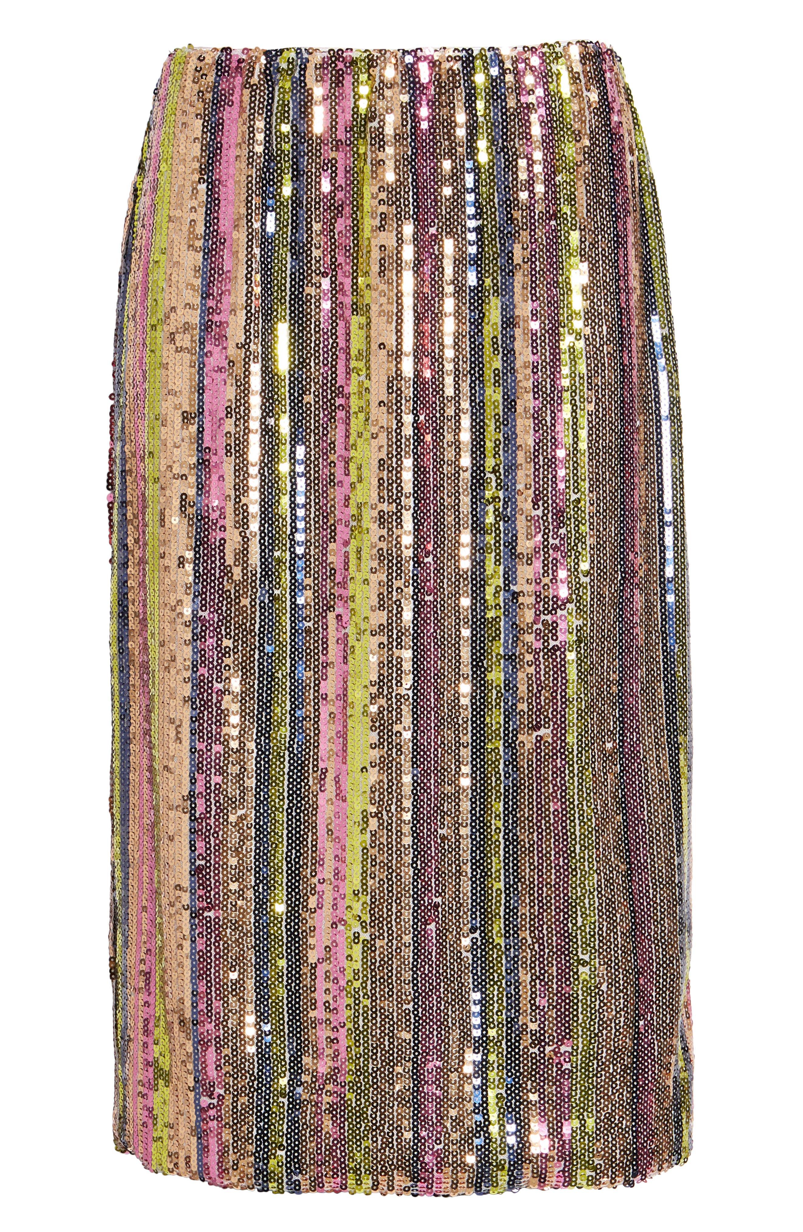 Rainbow Sequin Midi Skirt,                             Alternate thumbnail 5, color,                             PURPLE MAGENTA MULTI