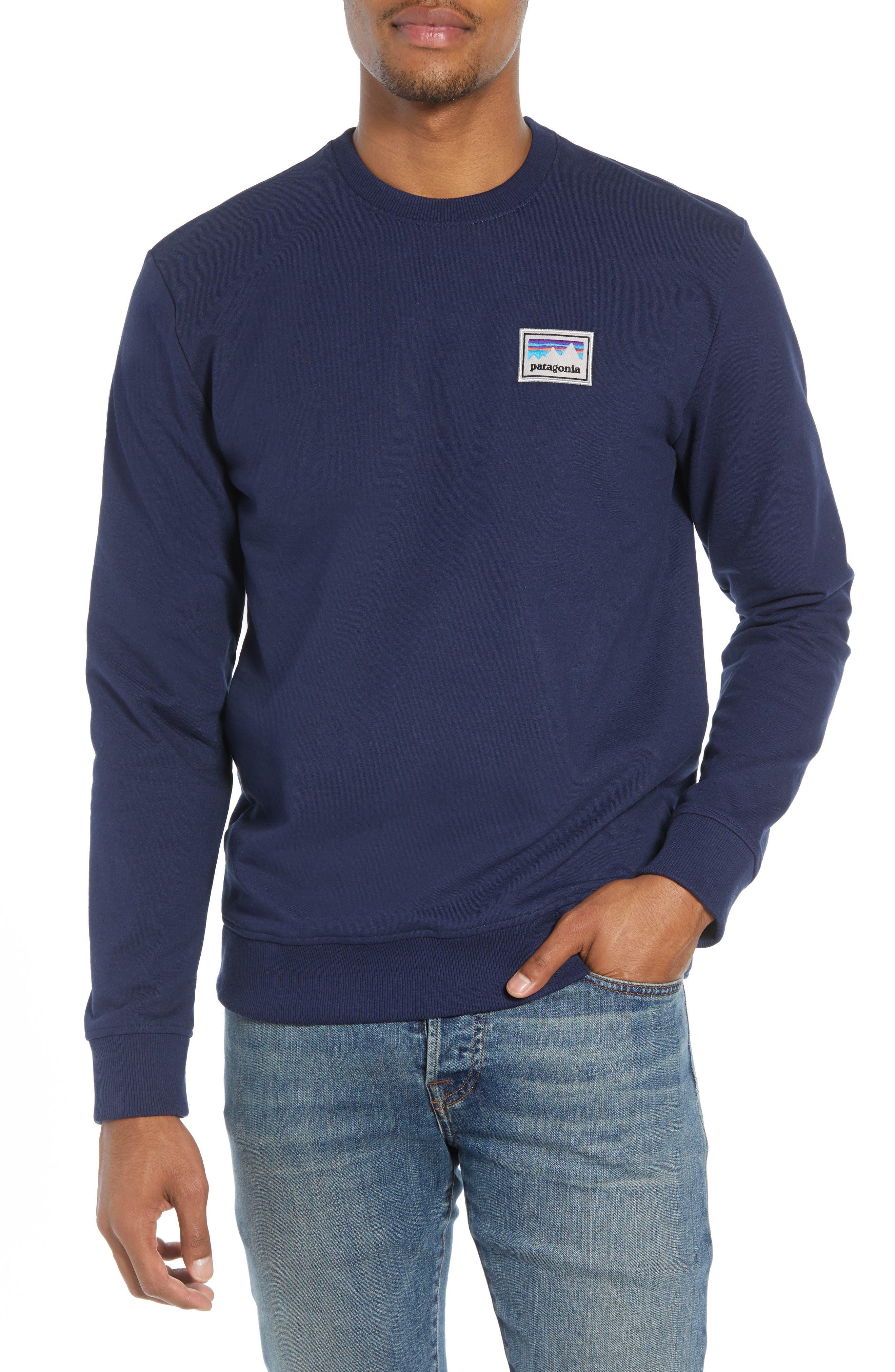 Shop Sticker Patch Uprisal Crew Sweatshirt,                             Main thumbnail 1, color,                             CLASSIC NAVY