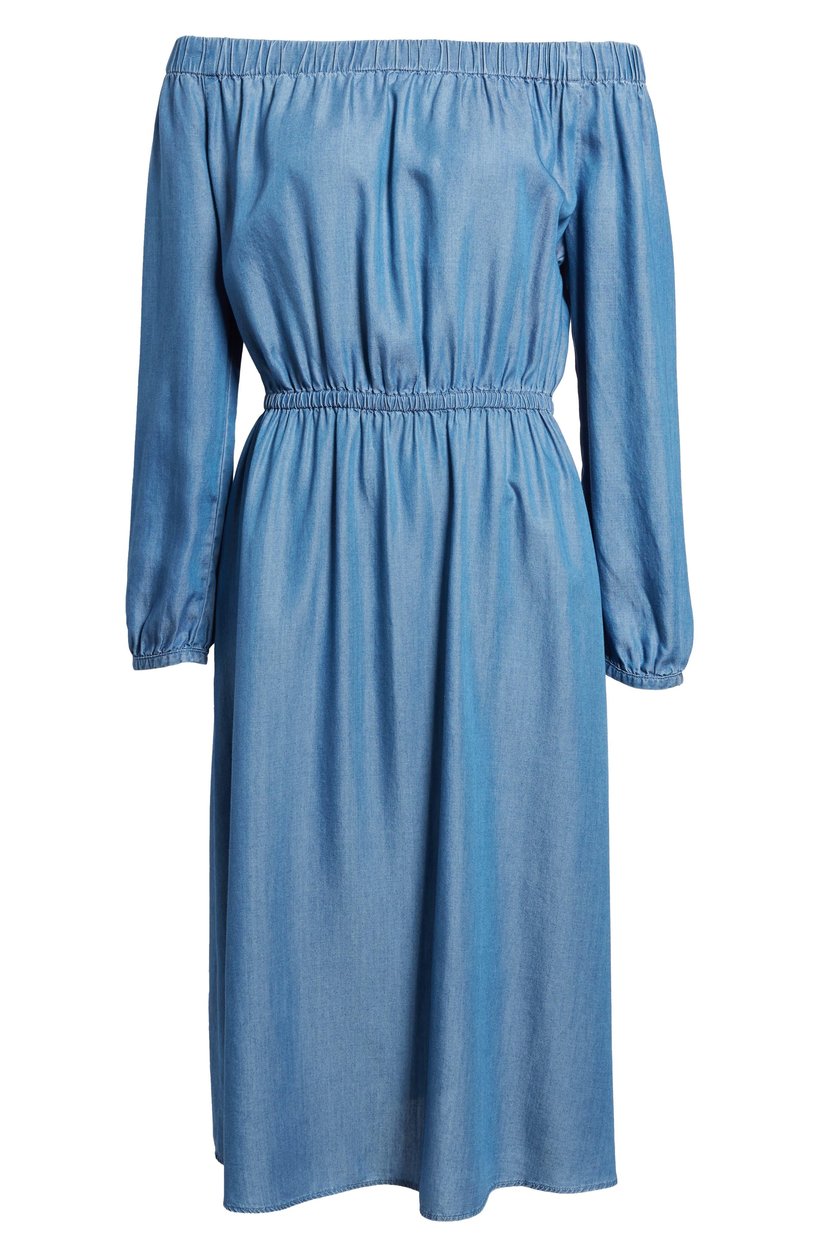 Off the Shoulder Midi Dress,                             Alternate thumbnail 6, color,                             401
