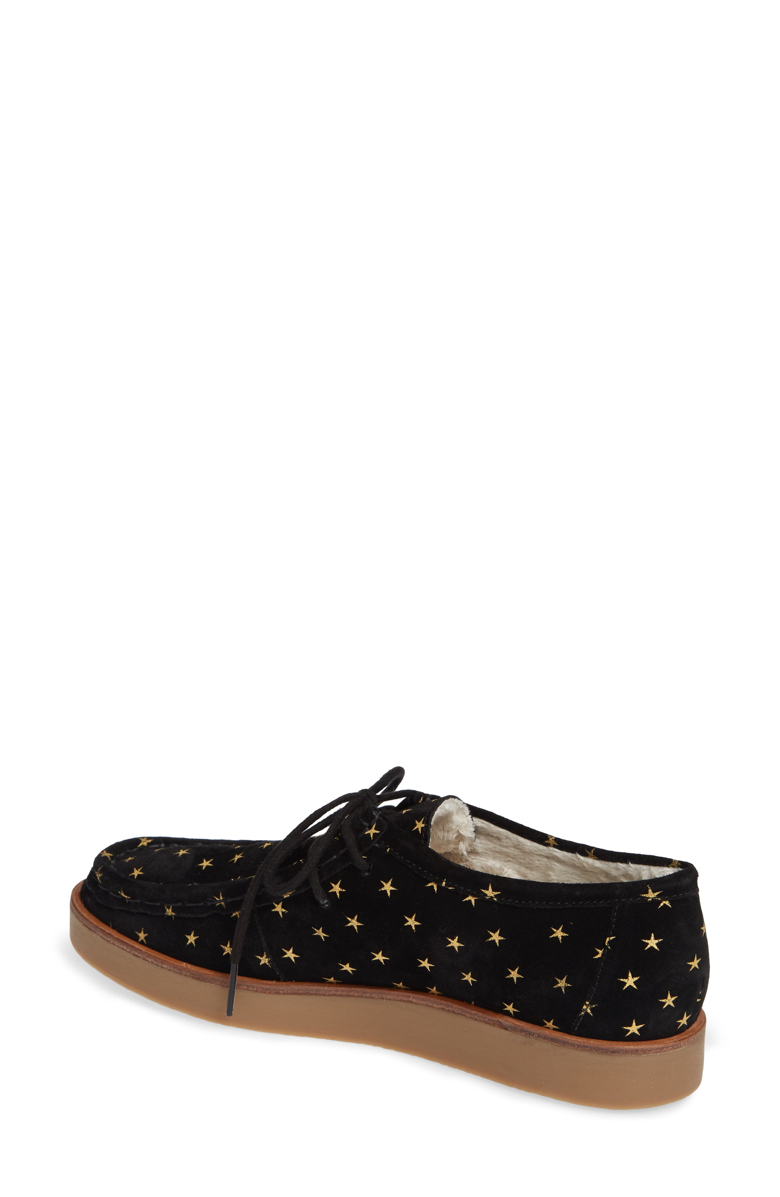 THE GREAT.,                             The Scout Star Sneaker,                             Alternate thumbnail 2, color,                             BLACK / GOLD STARS
