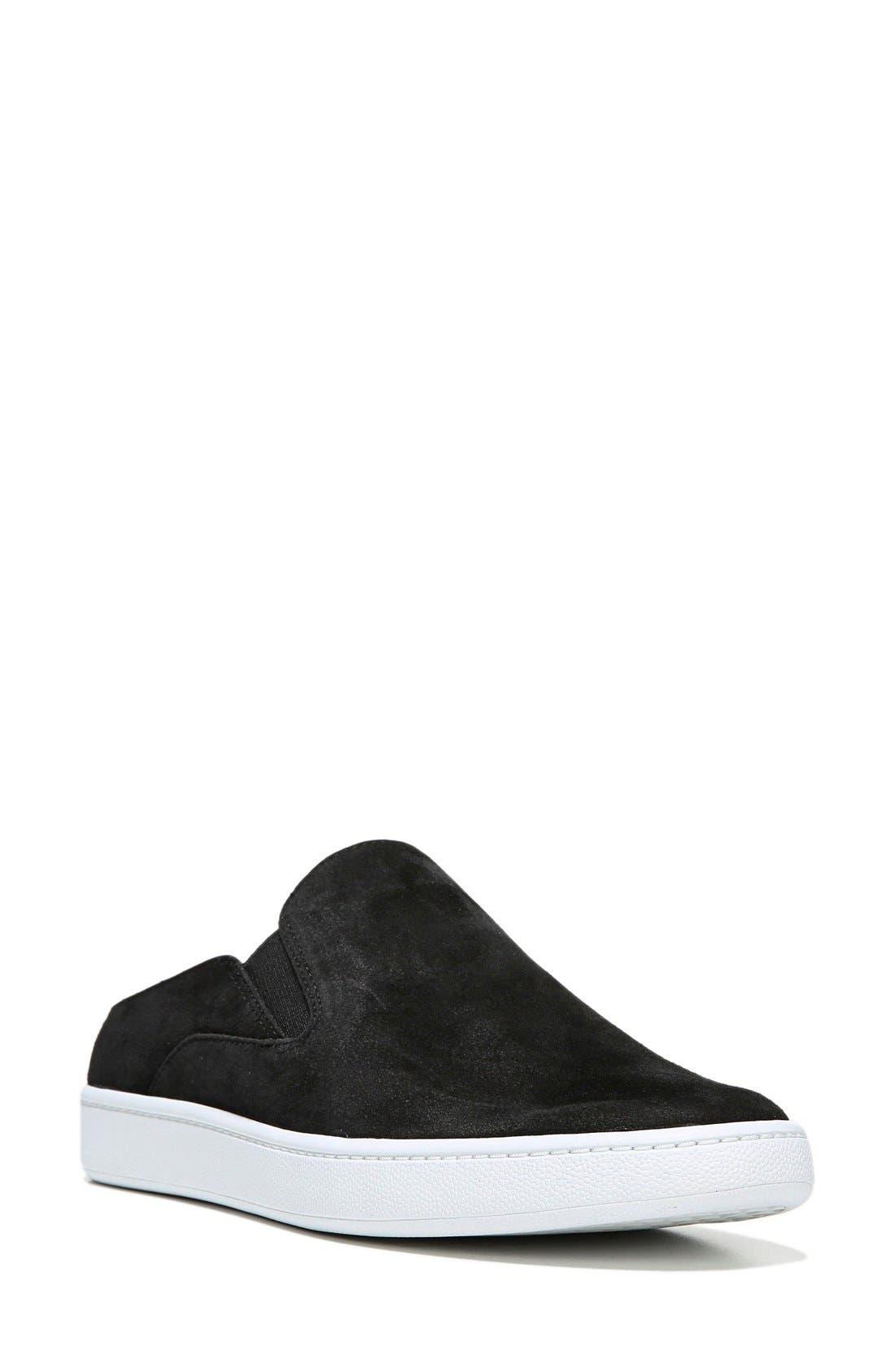 Verrell Slip-On Sneaker,                             Main thumbnail 1, color,                             BLACK SUEDE
