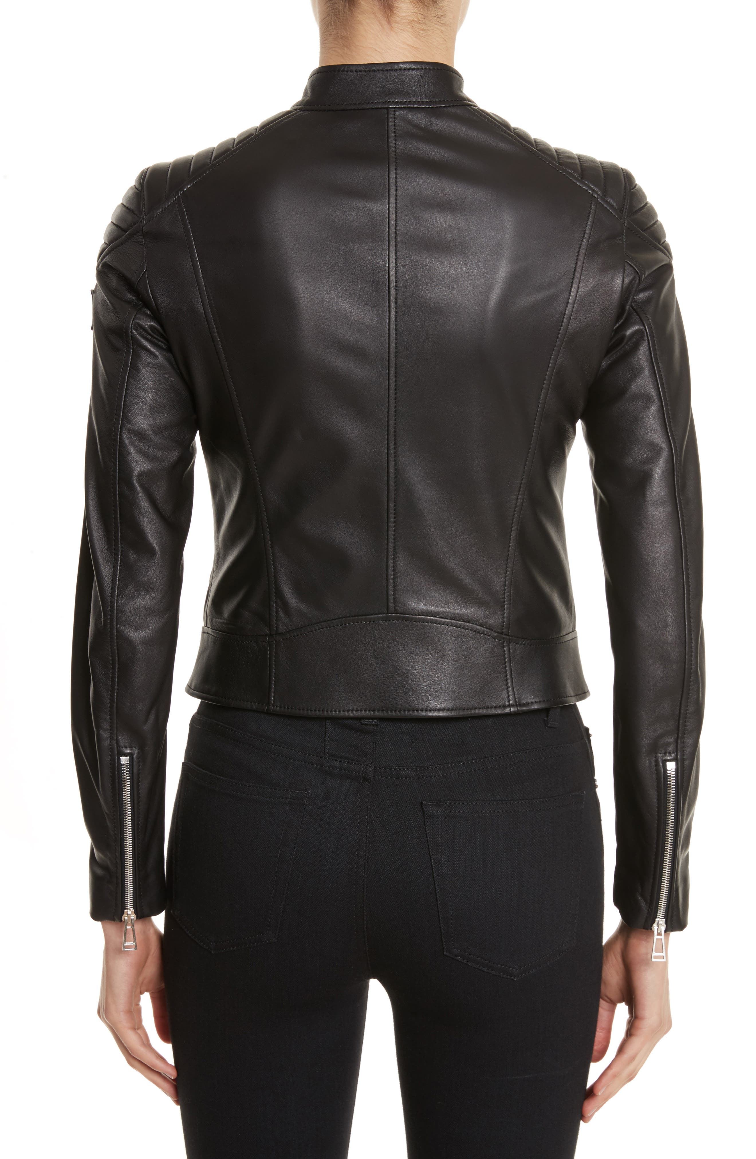 Mollison Leather Moto Jacket,                             Alternate thumbnail 6, color,