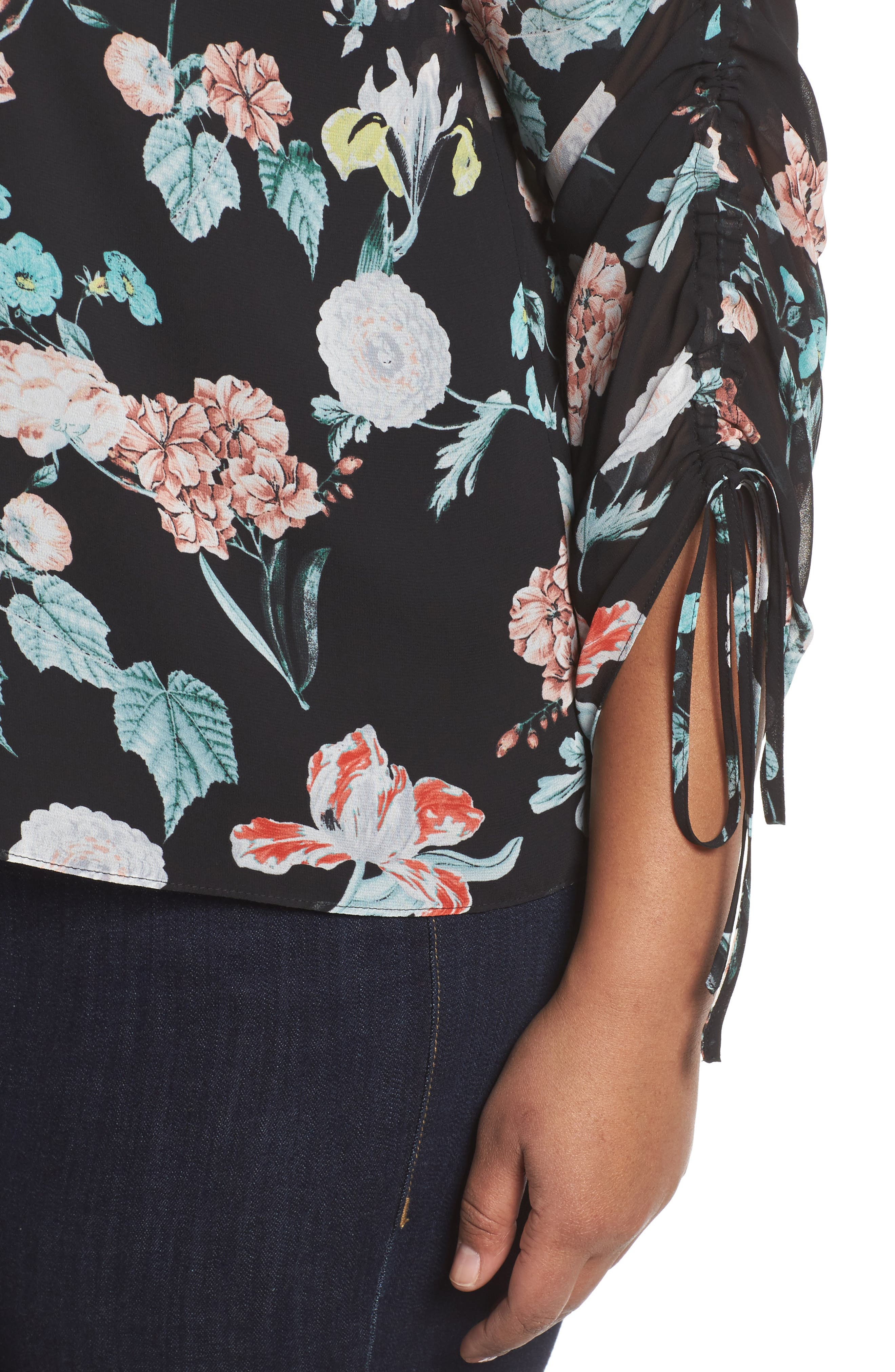 Floral Gardens Drawstring Sleeve Blouse,                             Alternate thumbnail 4, color,                             010