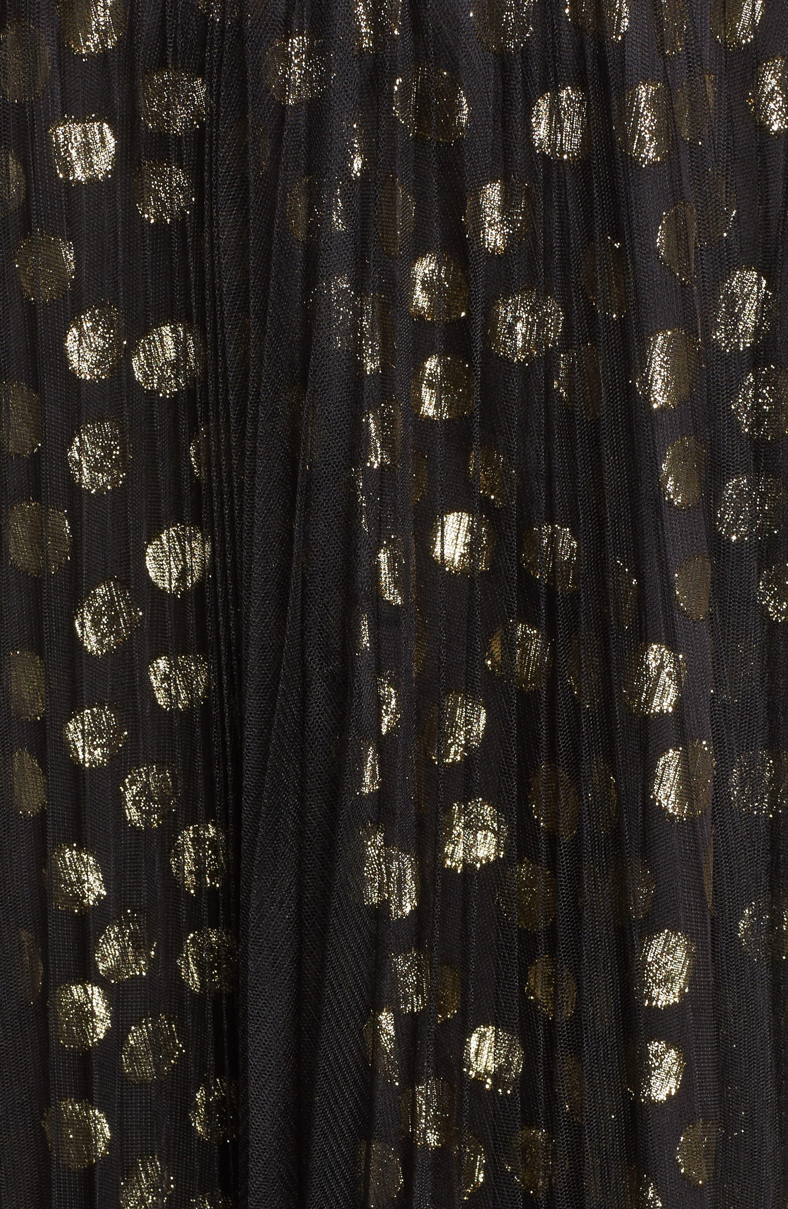 Shirred Metallic Dress,                             Alternate thumbnail 5, color,                             001