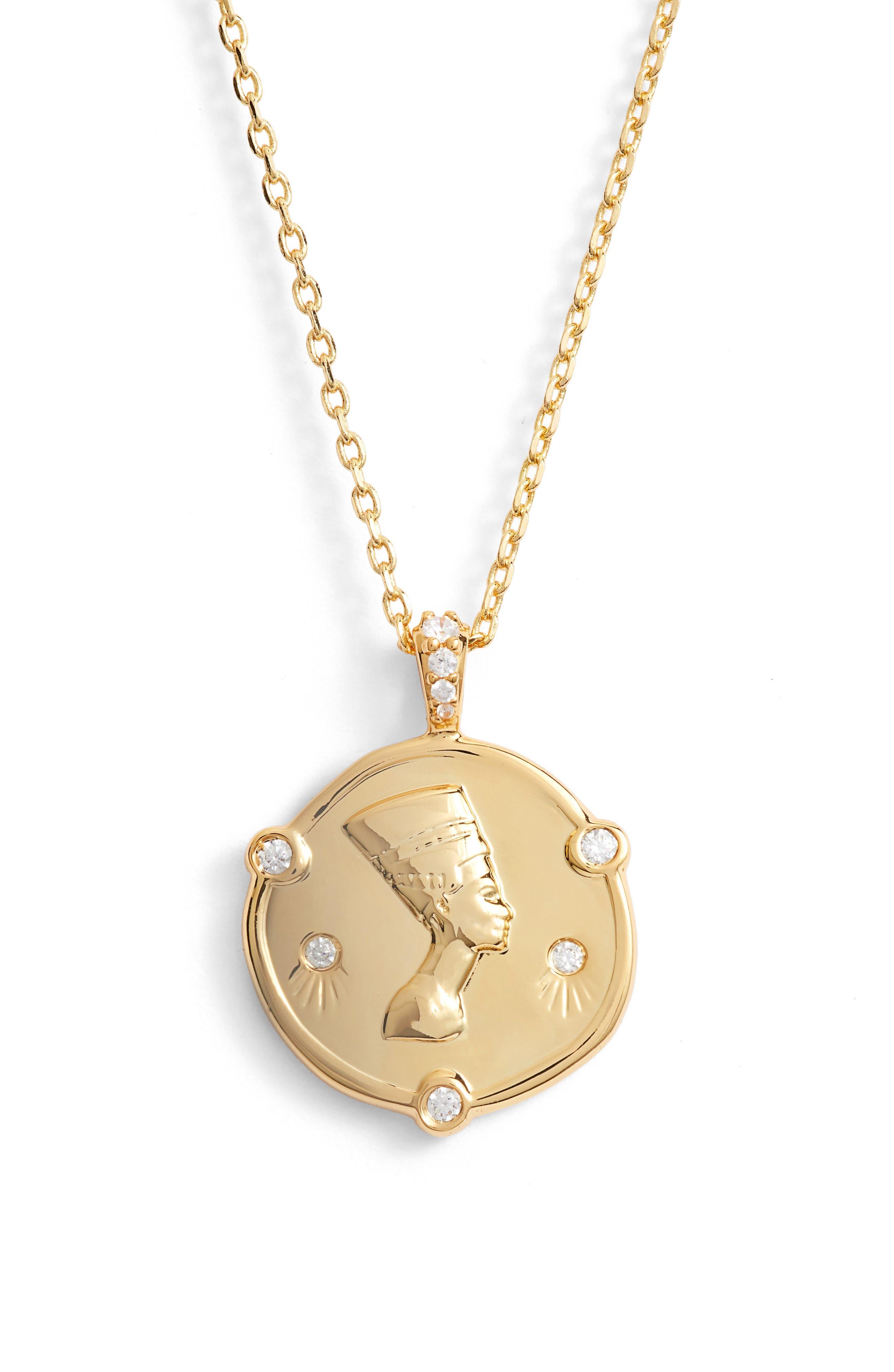 LULU DK Nefertiti Crystal Pendant Necklace in Gold