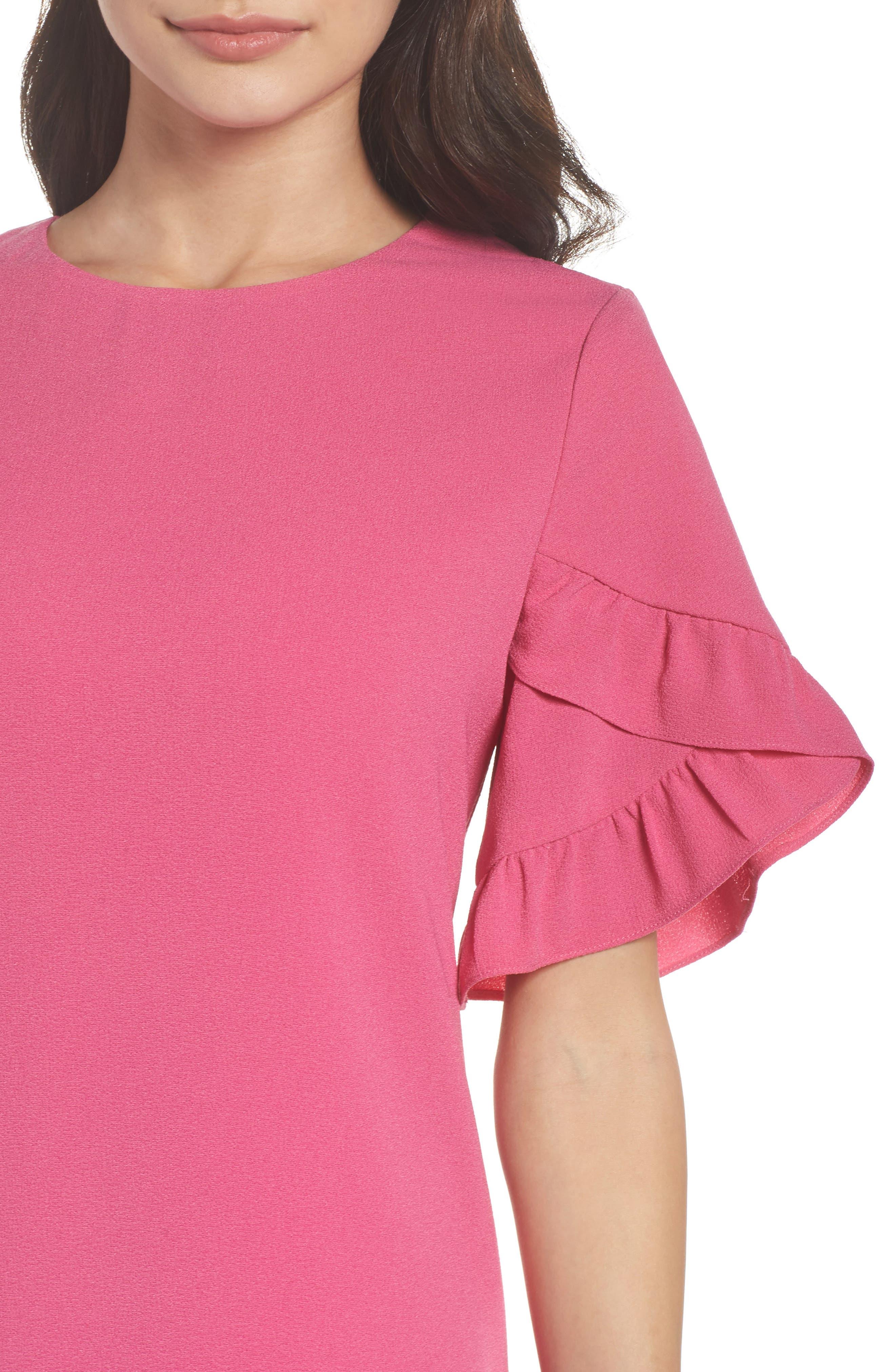 Ruffle Sleeve Shift Dress,                             Alternate thumbnail 4, color,                             660