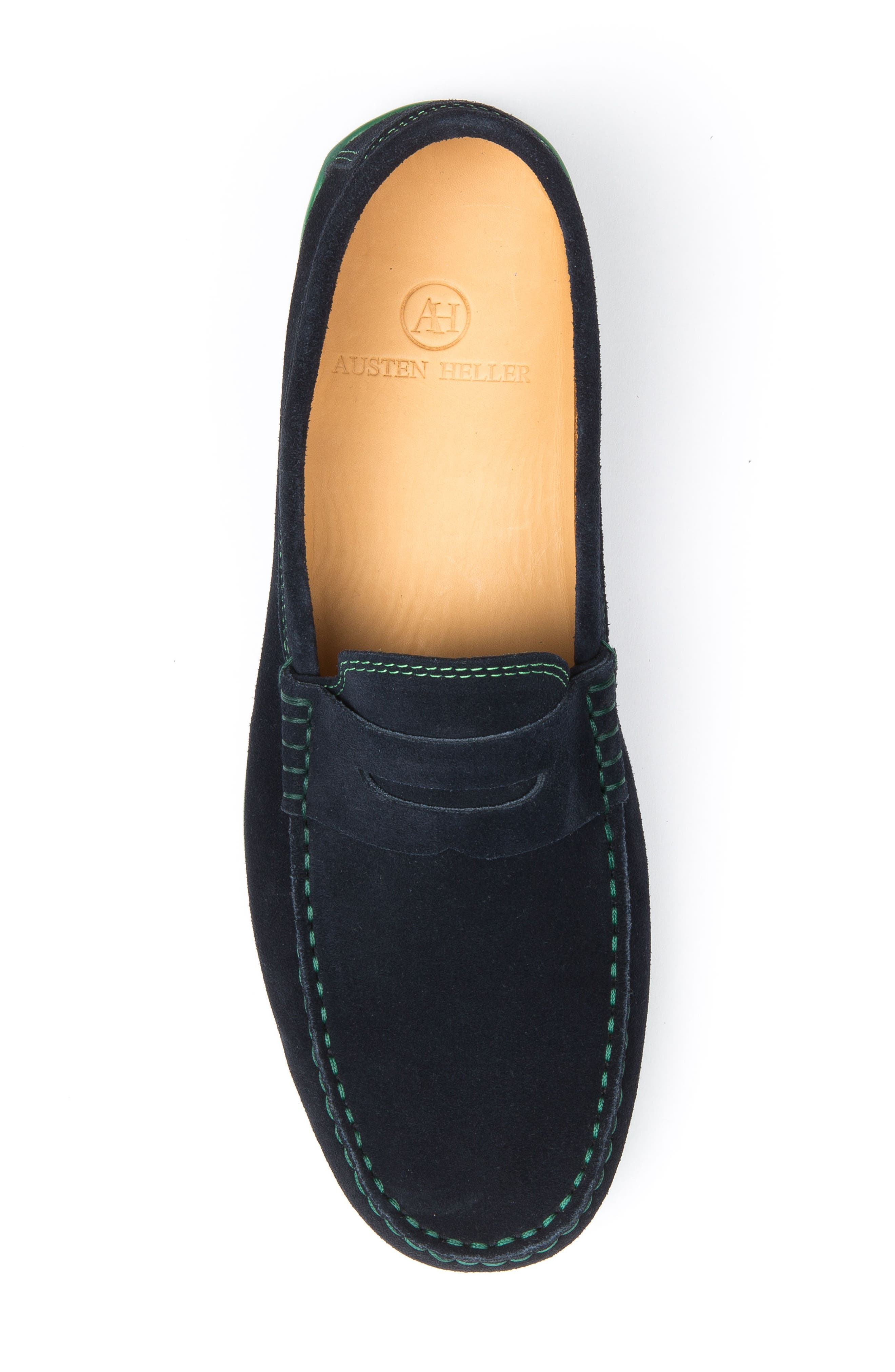 'Chathams' Penny Loafer,                             Alternate thumbnail 5, color,                             NAVY SUEDE/ GREEN