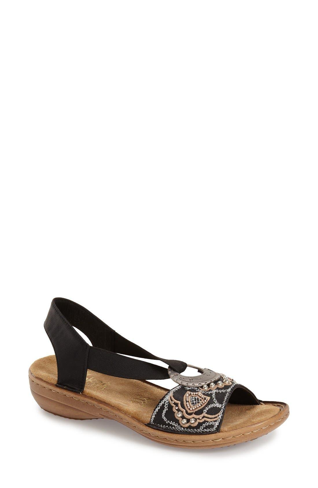 RIEKER ANTISTRESS 'Regina' Sandal, Main, color, BLACK FABRIC