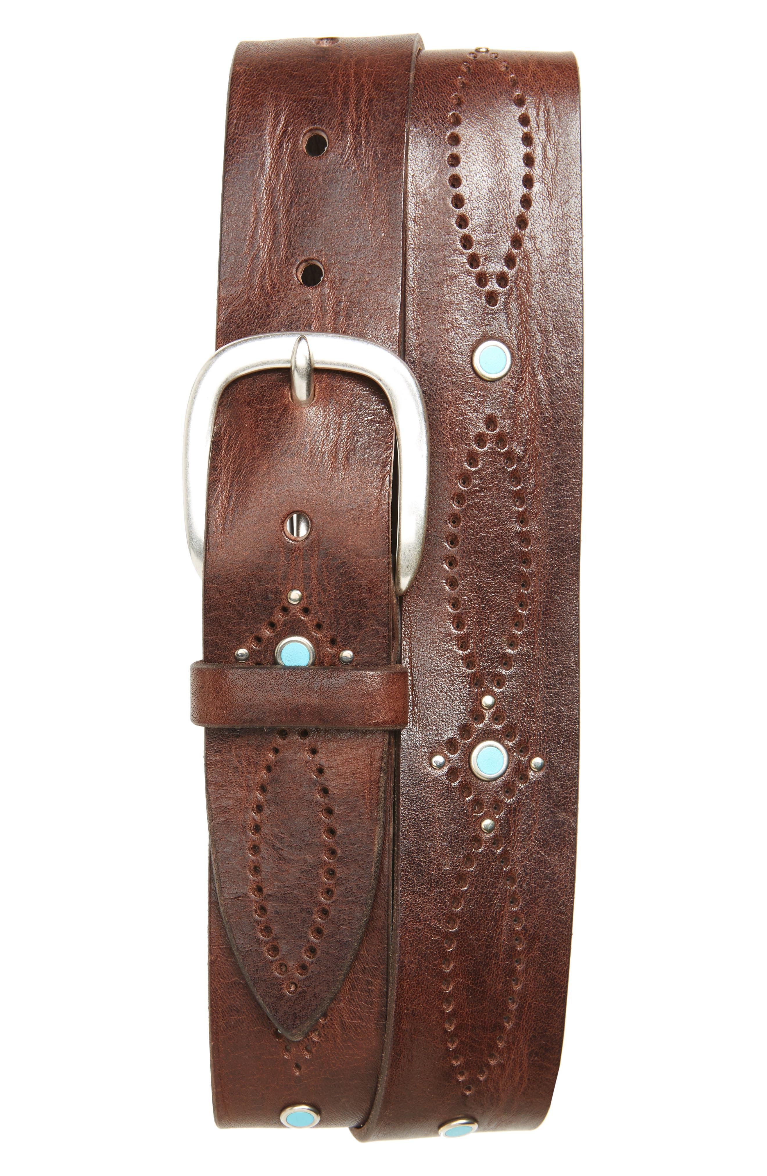 Wax Embellished Leather Belt,                         Main,                         color, 200