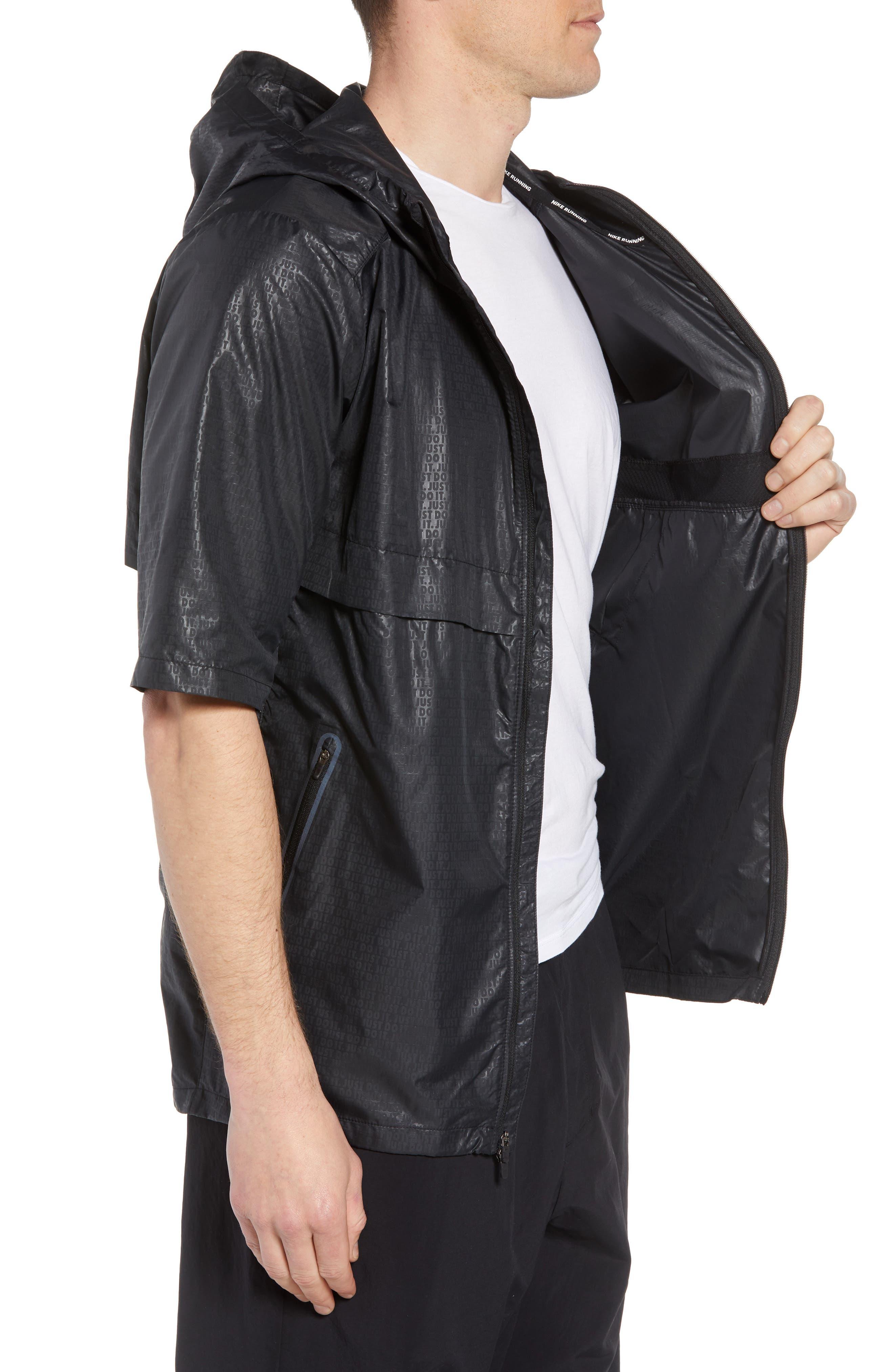 Running Shield Short Sleeve Hooded Jacket,                             Alternate thumbnail 3, color,                             BLACK
