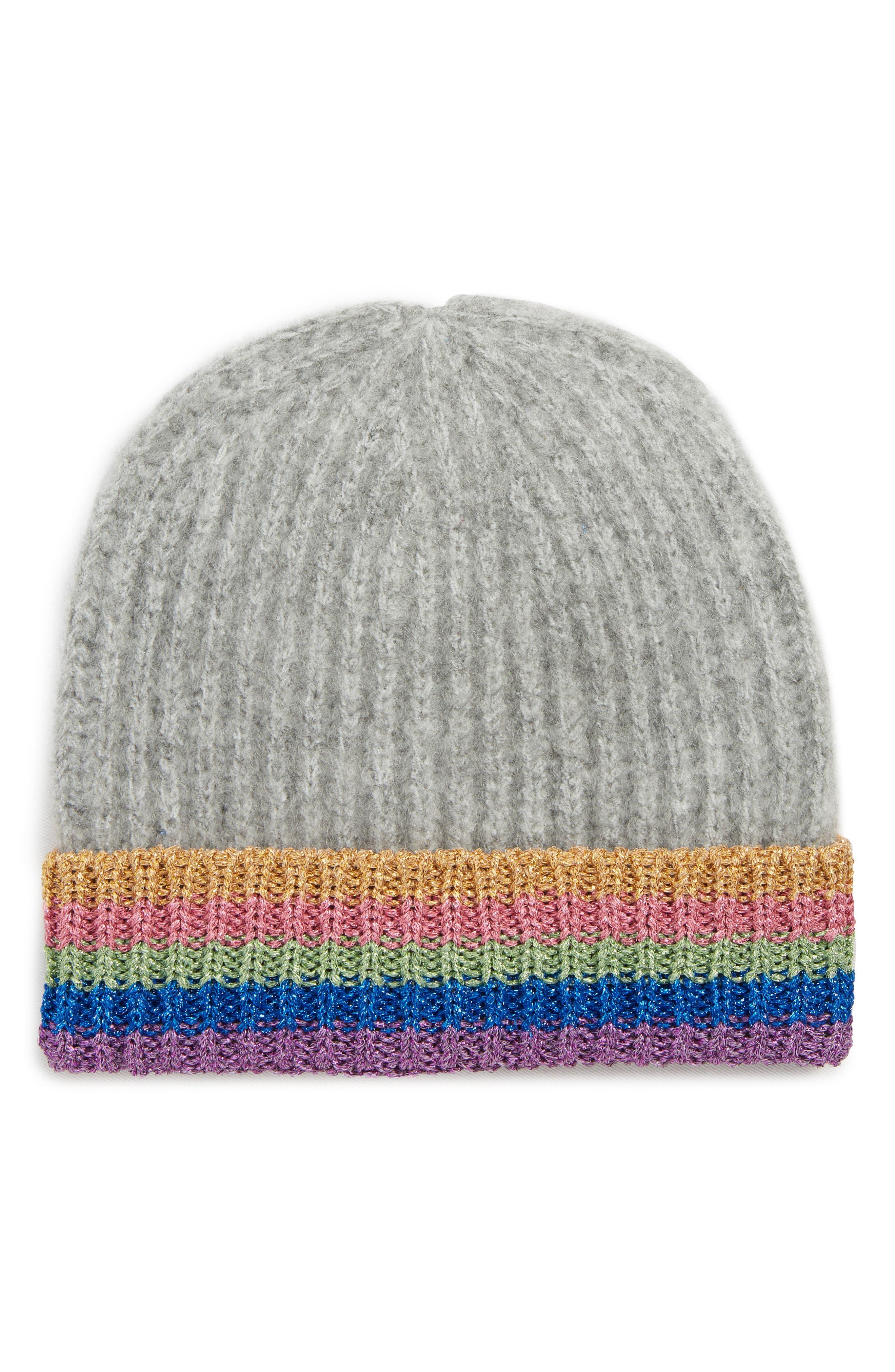 Rainbow Beanie Hat,                         Main,                         color, GREY