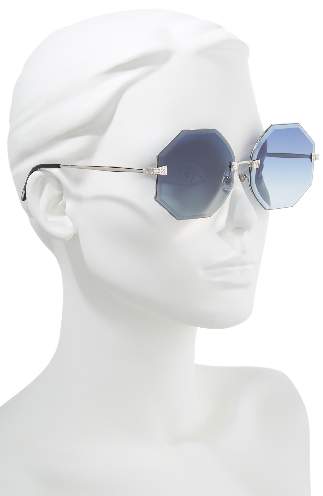 Gem 64mm Oversize Geometric Sunglasses,                             Alternate thumbnail 2, color,                             040