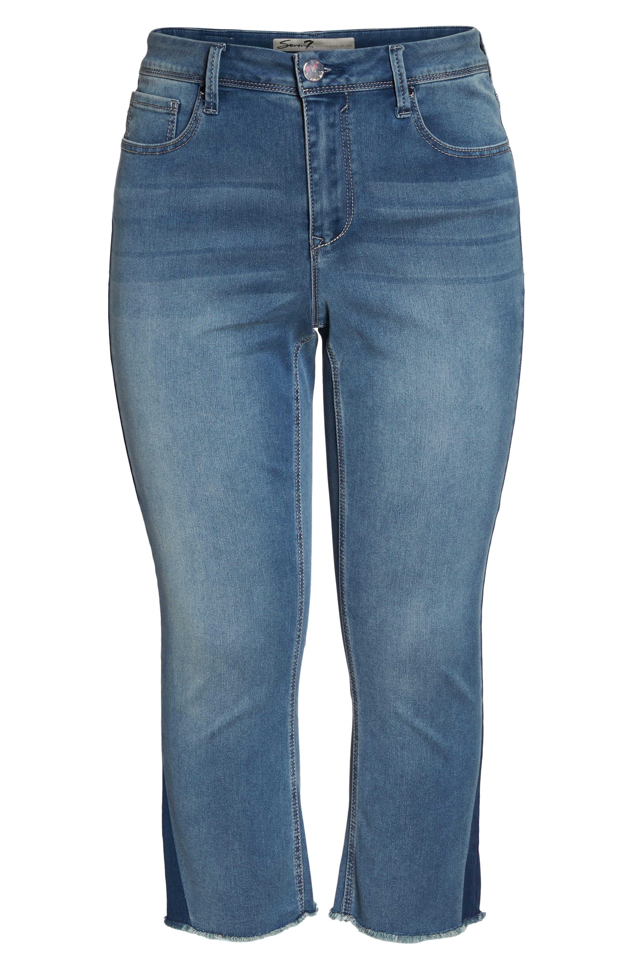 Shadow Godet Ankle Duster Jeans,                             Alternate thumbnail 7, color,                             LEVINE