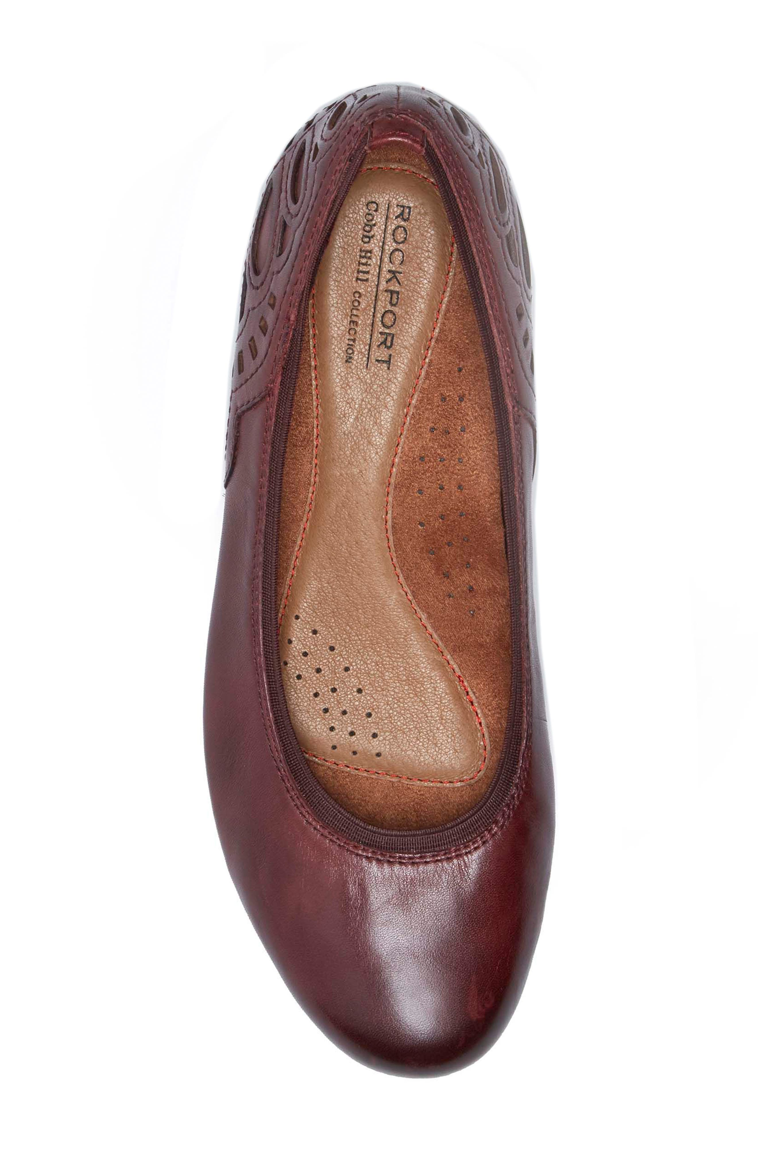 Sharleen Wedge Pump,                             Alternate thumbnail 5, color,                             MERLOT LEATHER