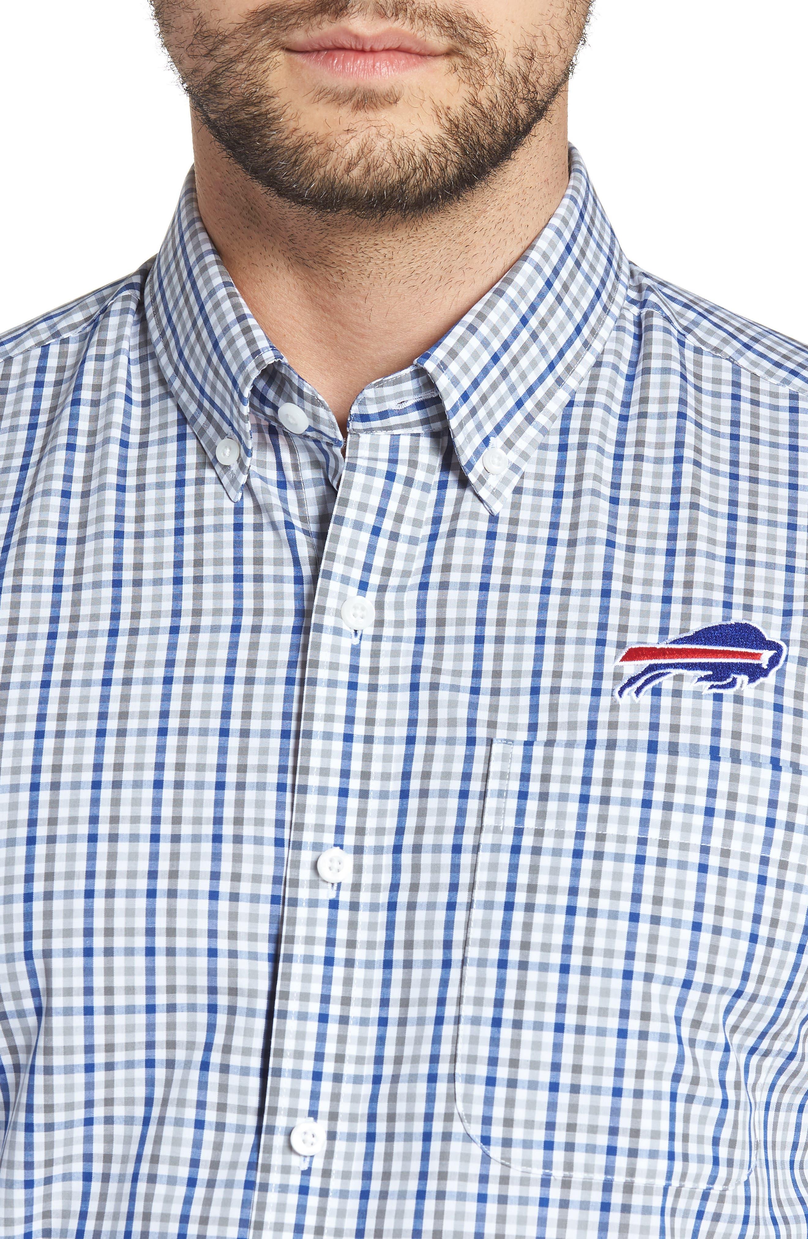 Buffalo Bills - Gilman Regular Fit Plaid Sport Shirt,                             Alternate thumbnail 4, color,                             TOUR BLUE