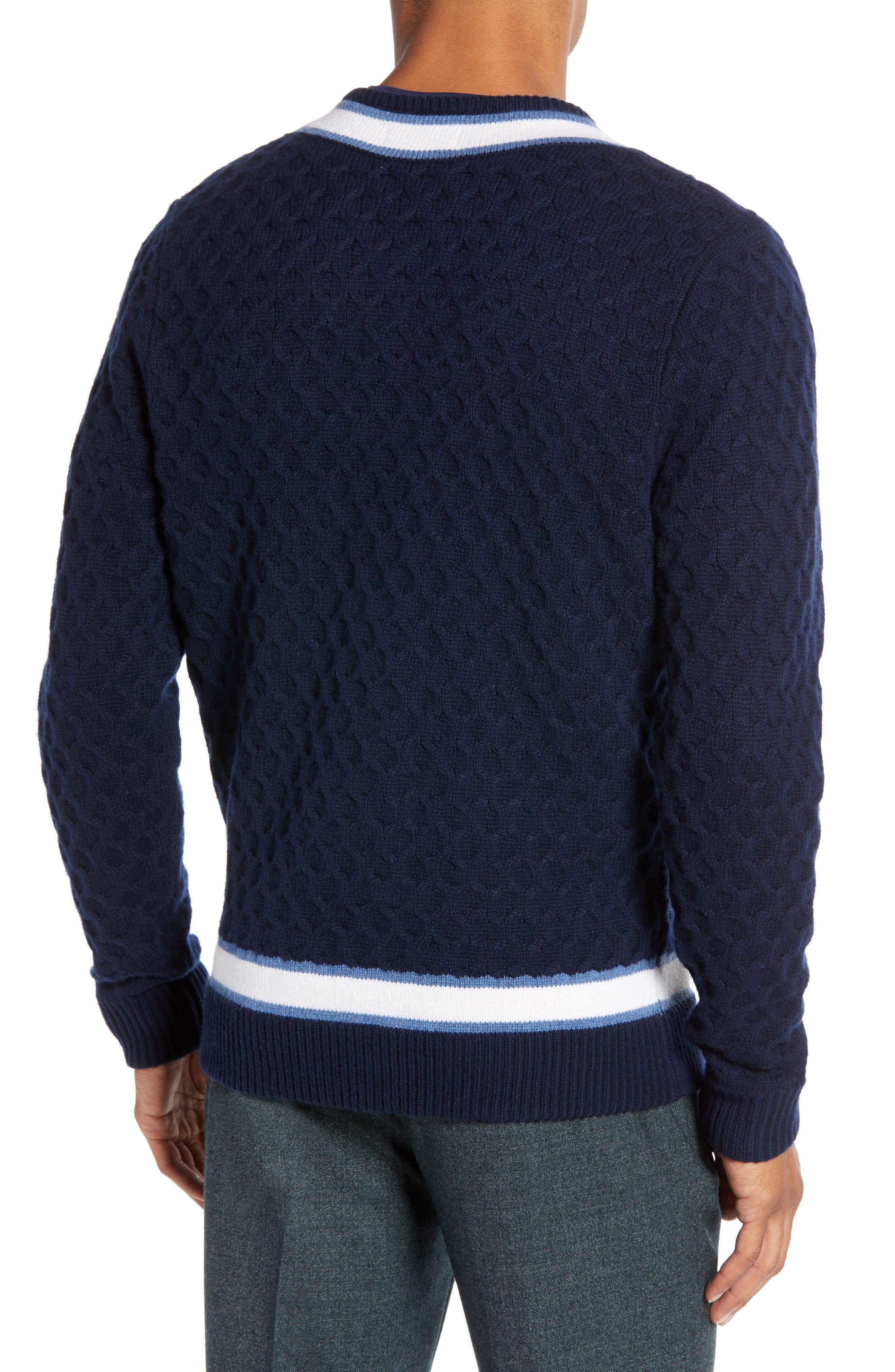 Varsity Stripe V-Neck Wool Blend Sweater,                             Alternate thumbnail 2, color,                             NAVY IRIS