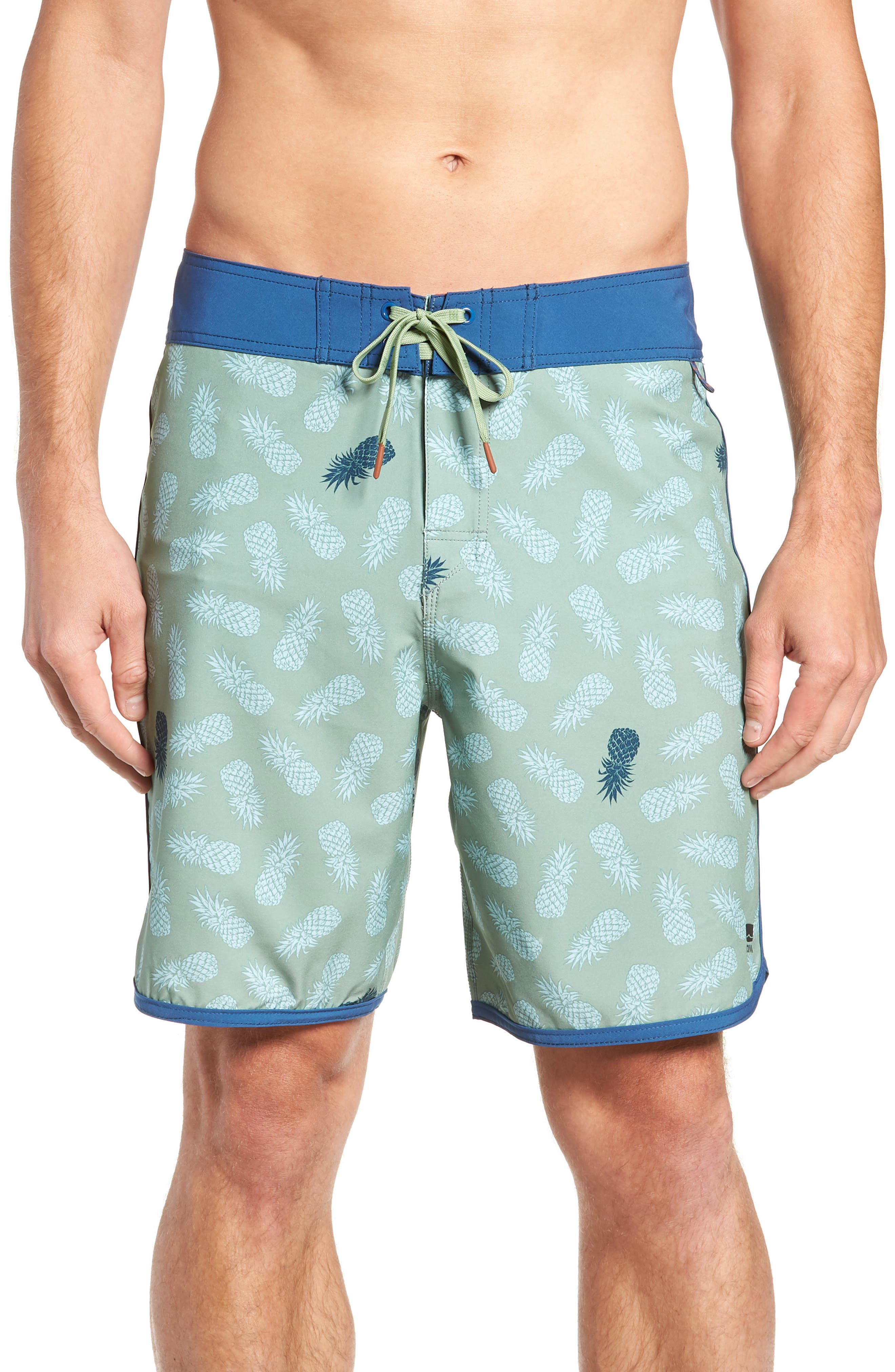 Colada Regular Fit Board Shorts,                         Main,                         color, BASIL GREEN