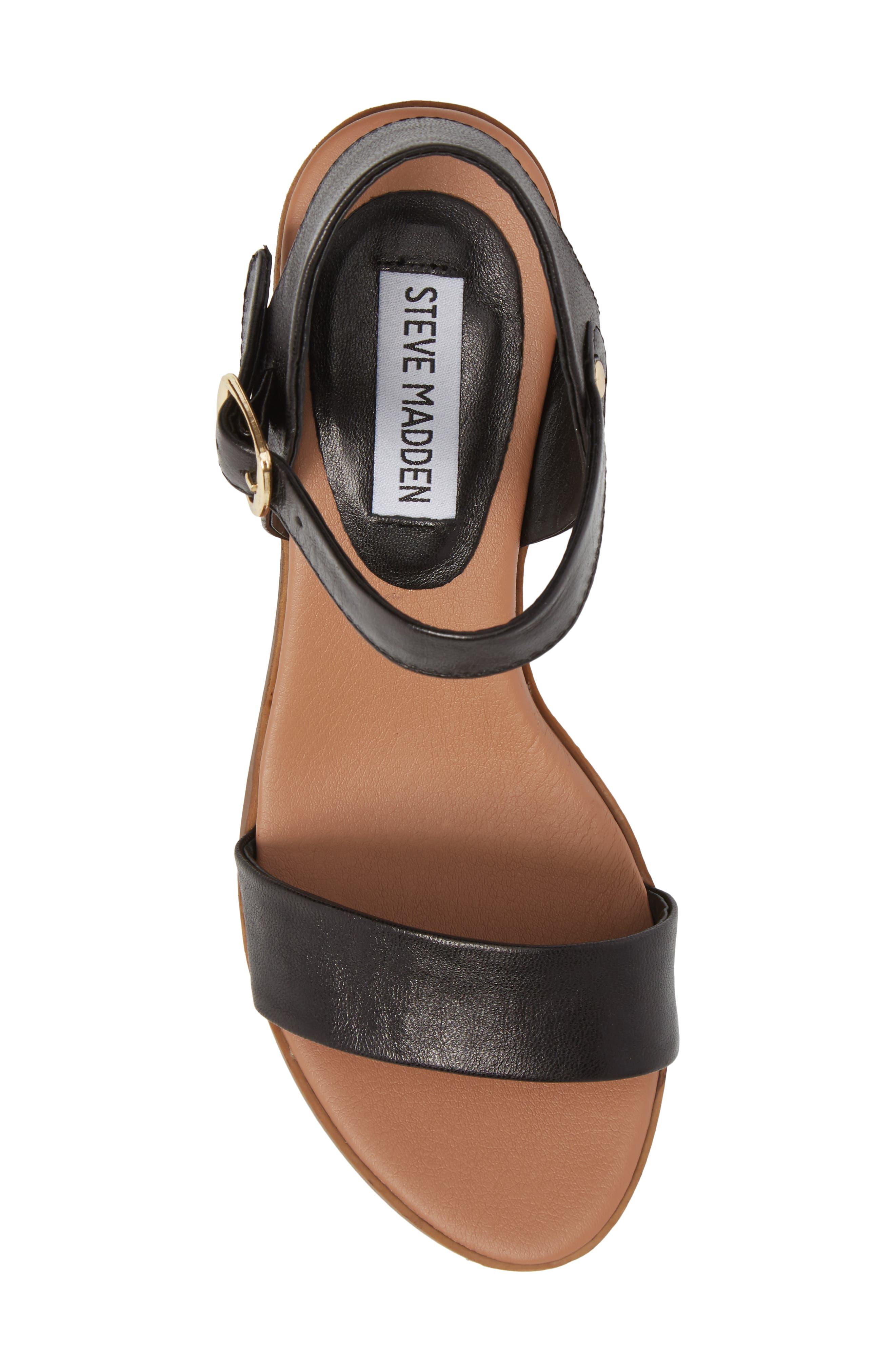 April Block Heel Sandal,                             Alternate thumbnail 5, color,                             BLACK LEATHER