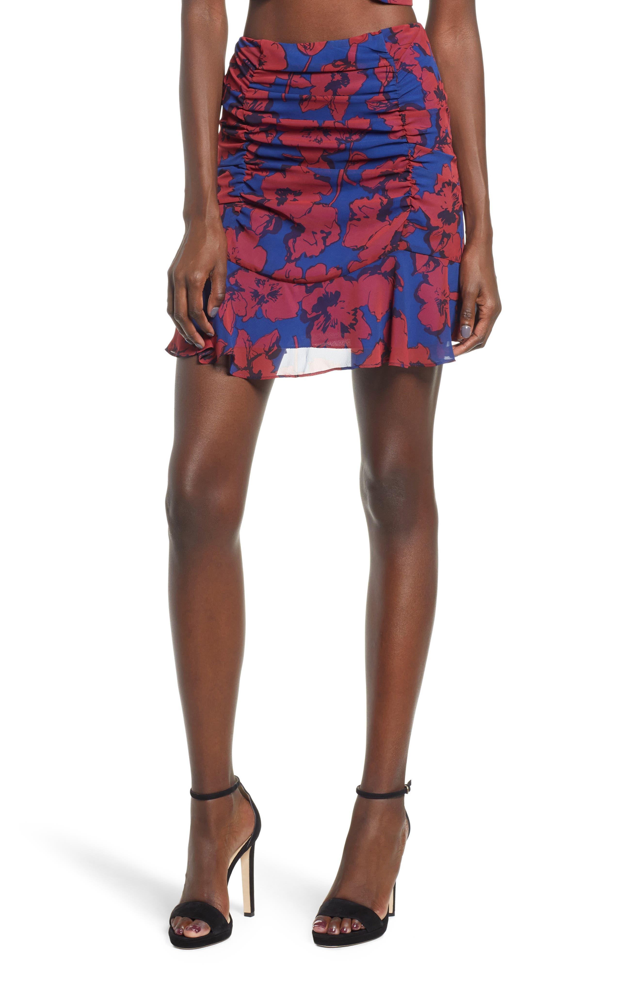 4Si3Nna Cinch Front Mini Skirt, Blue