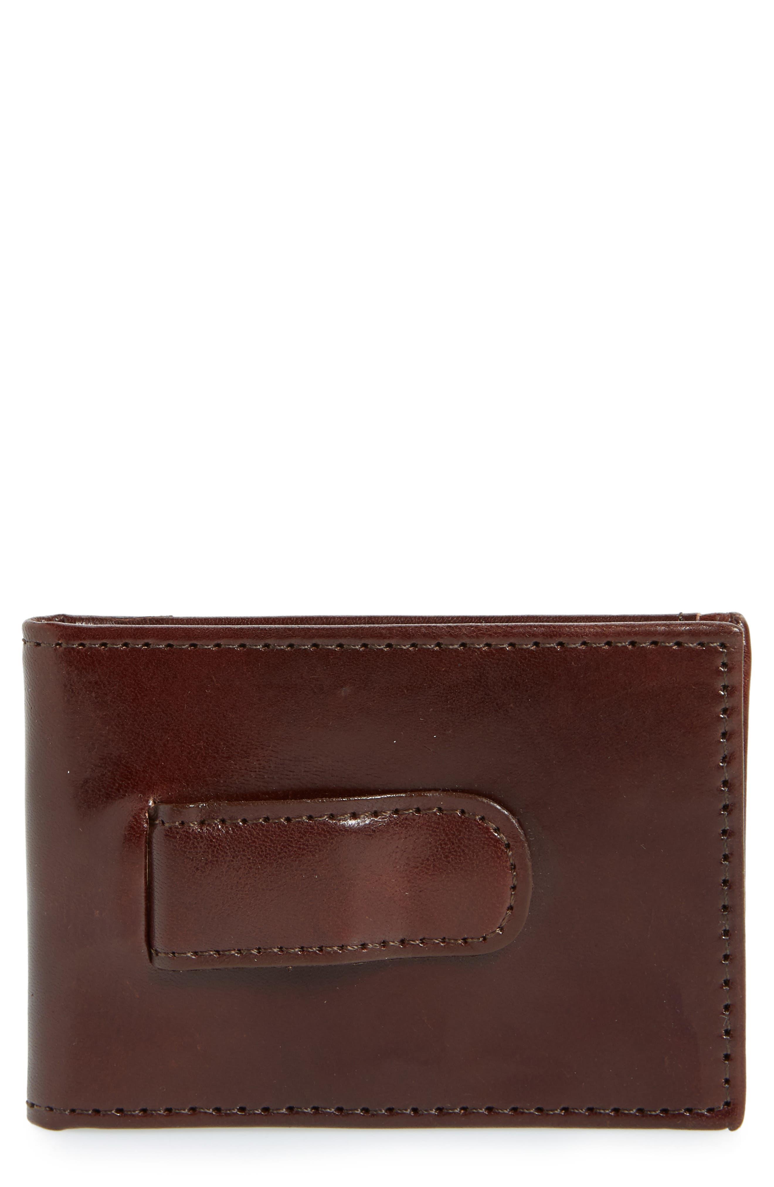 Leather Money Clip Wallet,                             Main thumbnail 1, color,                             BROWN
