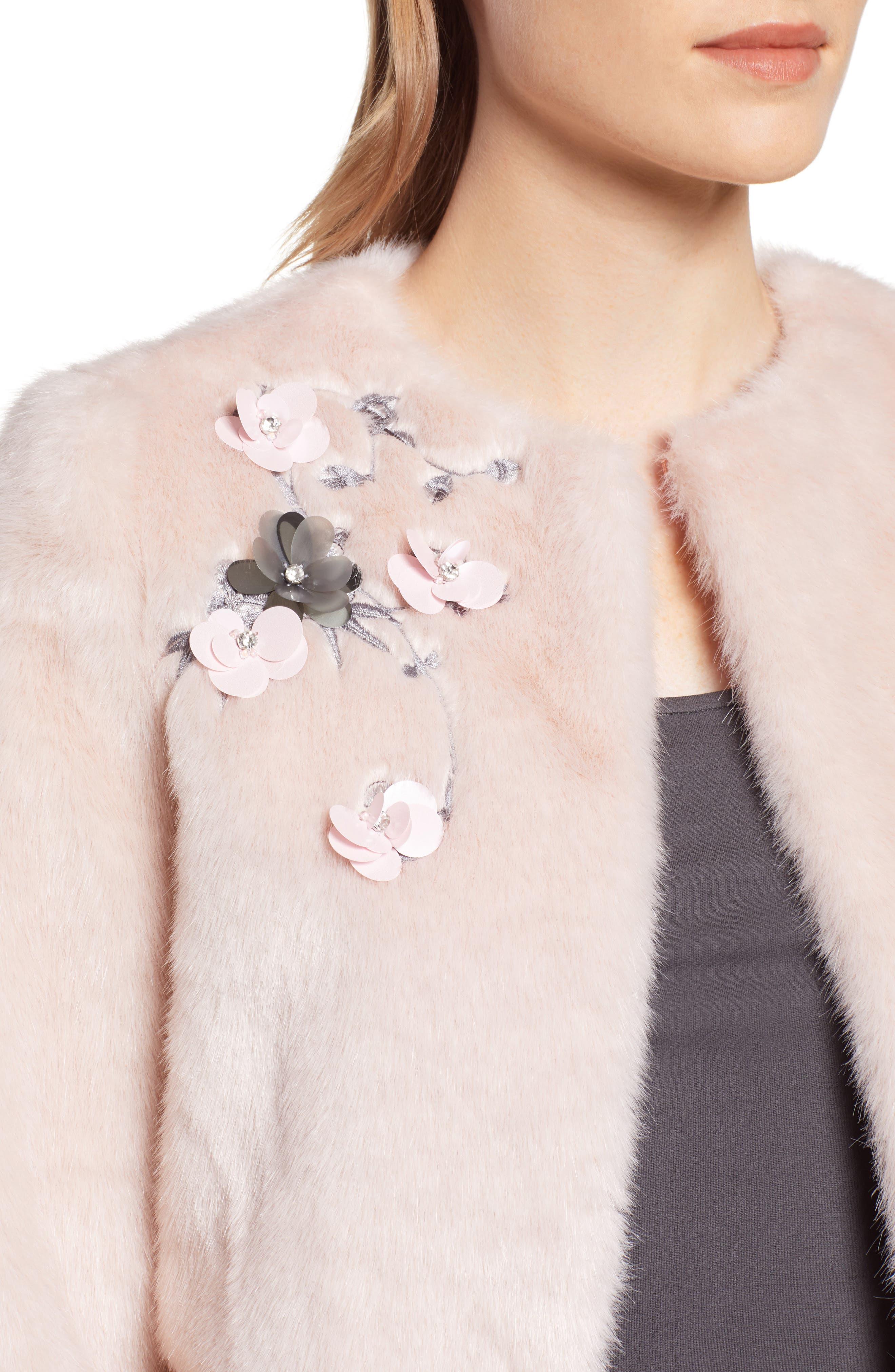 Appliqué Embellished Faux Fur Crop Jacket,                             Alternate thumbnail 4, color,                             NUDE PINK