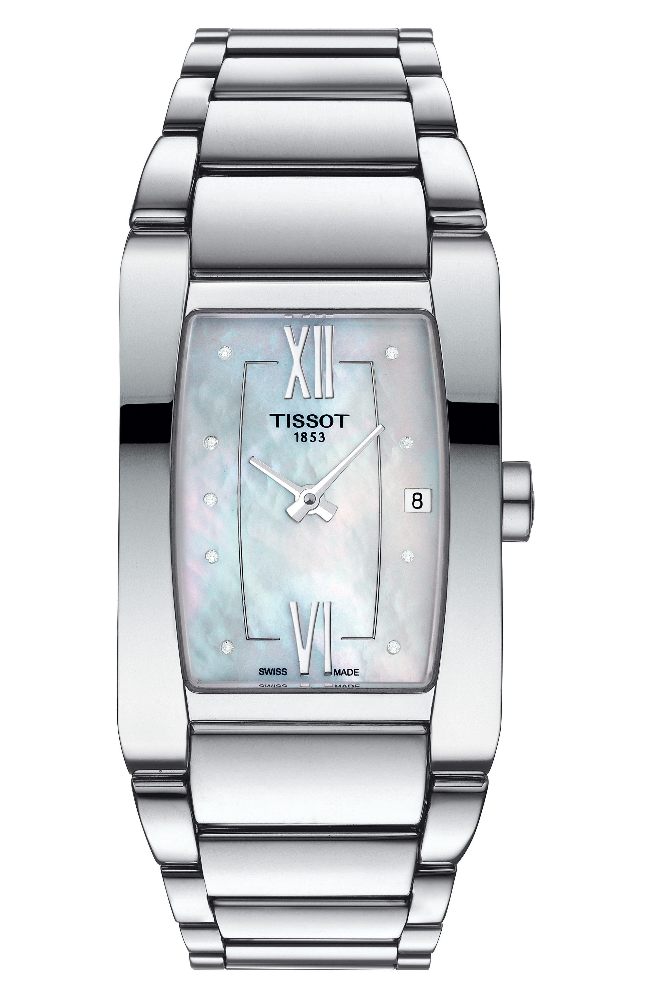 TISSOT,                             Generosi-T Bracelet Watch, 27mm,                             Main thumbnail 1, color,                             SILVER/ MOTHER OF PEARL