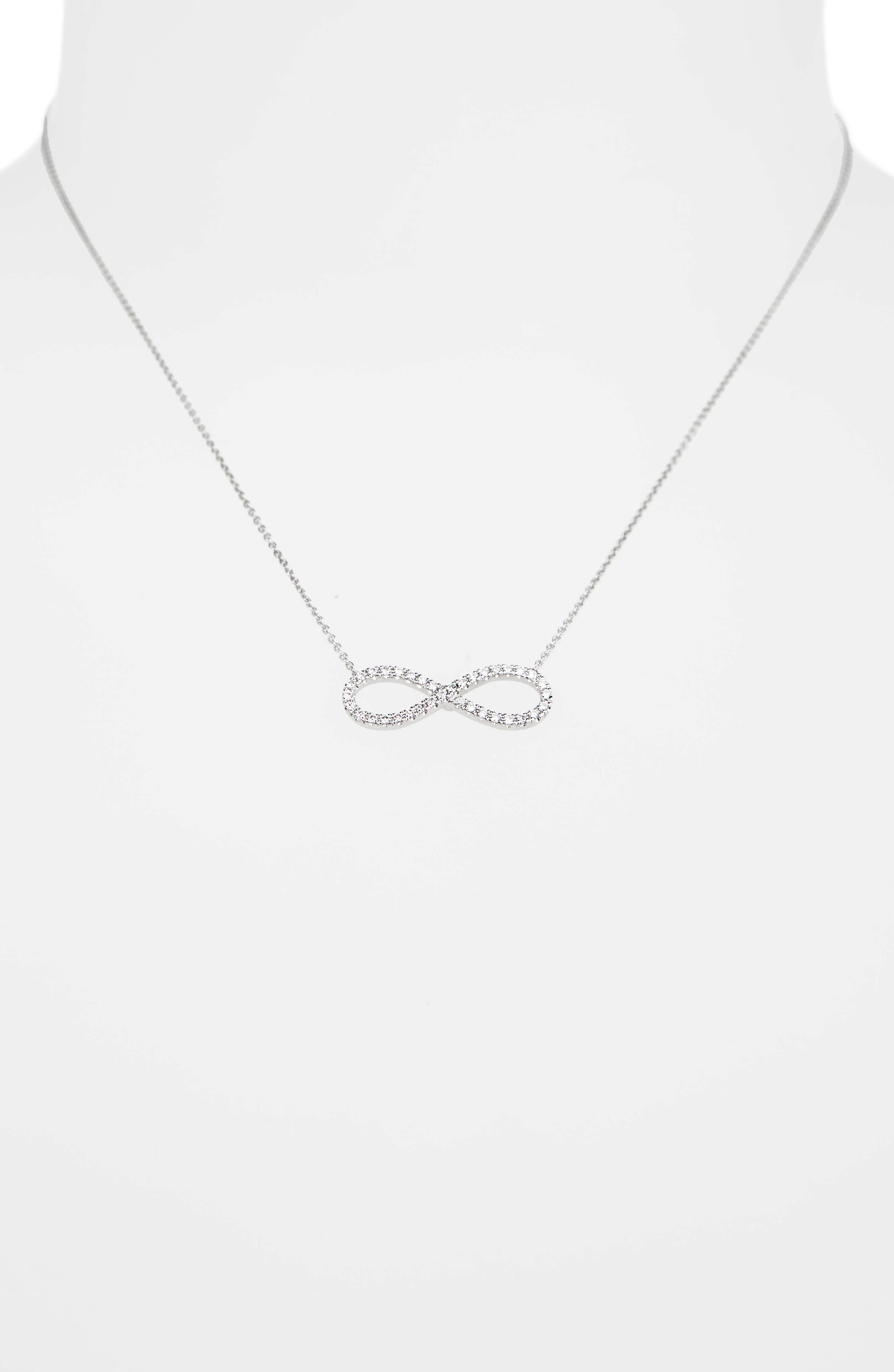 Robert Coin Diamond Infinity Pendant Necklace,                             Alternate thumbnail 2, color,                             WHITE GOLD