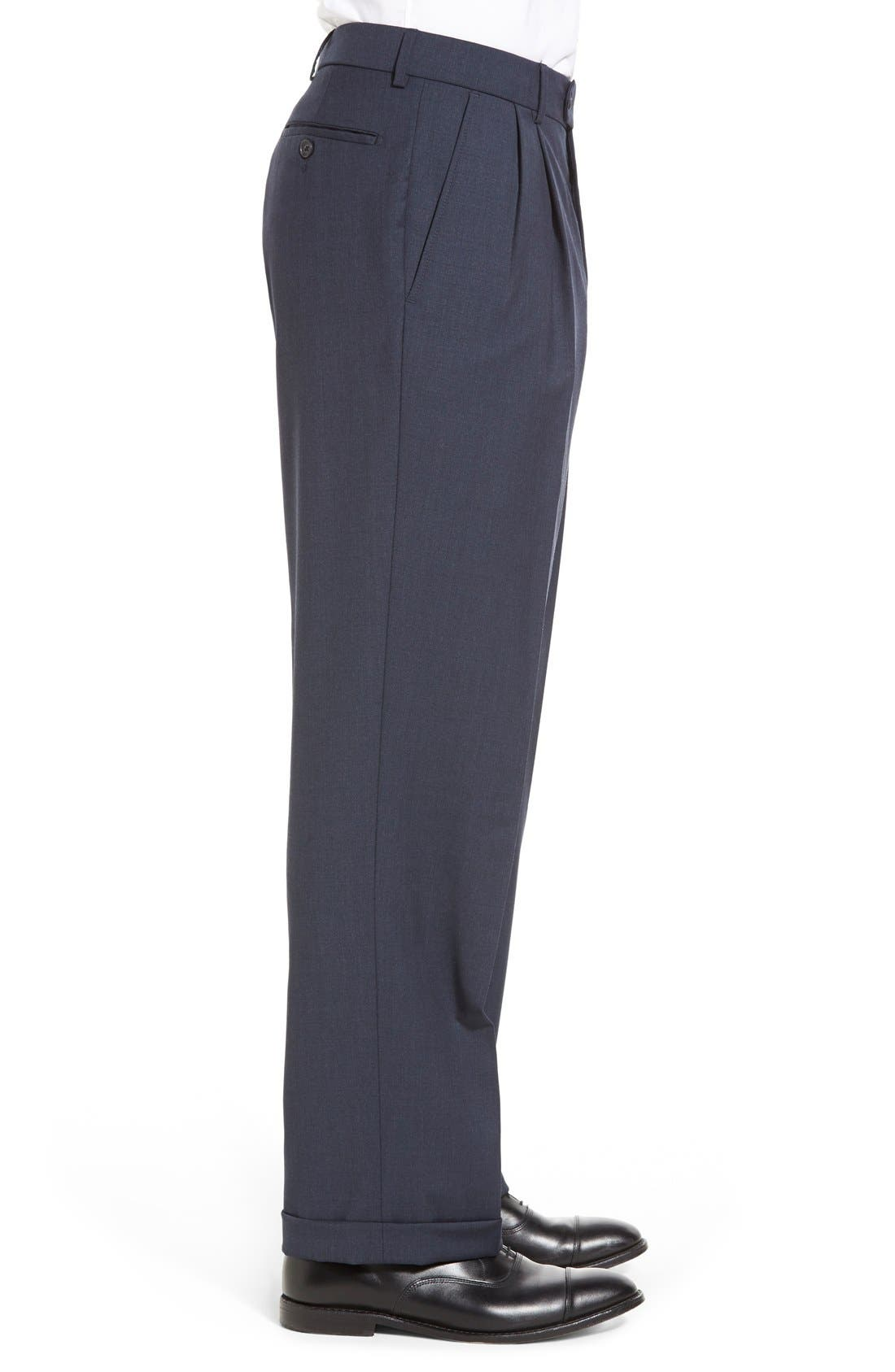 Pleated Solid Wool Trousers,                             Alternate thumbnail 39, color,