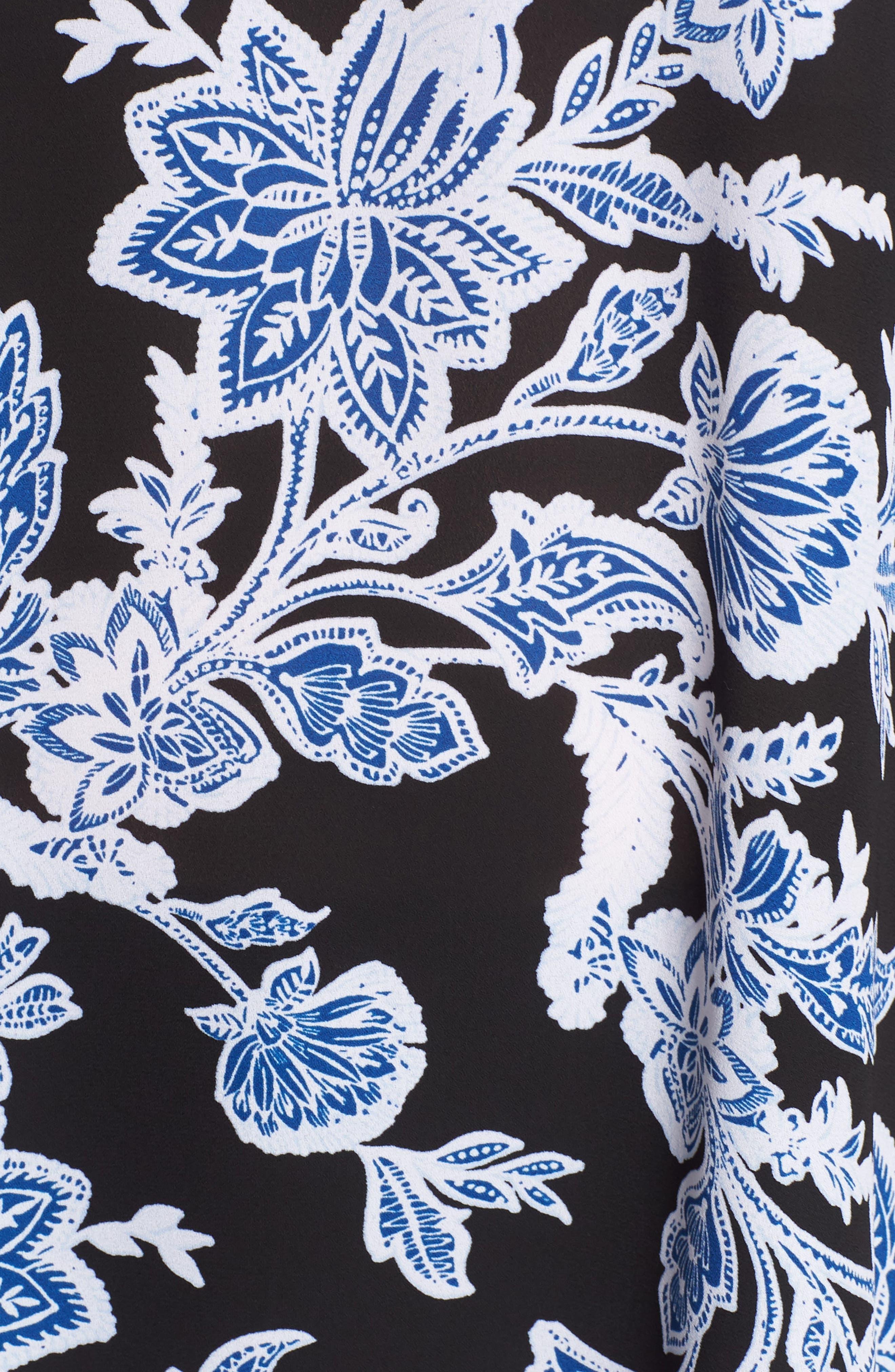 Floral Pleat Back High/Low Top,                             Alternate thumbnail 6, color,                             010