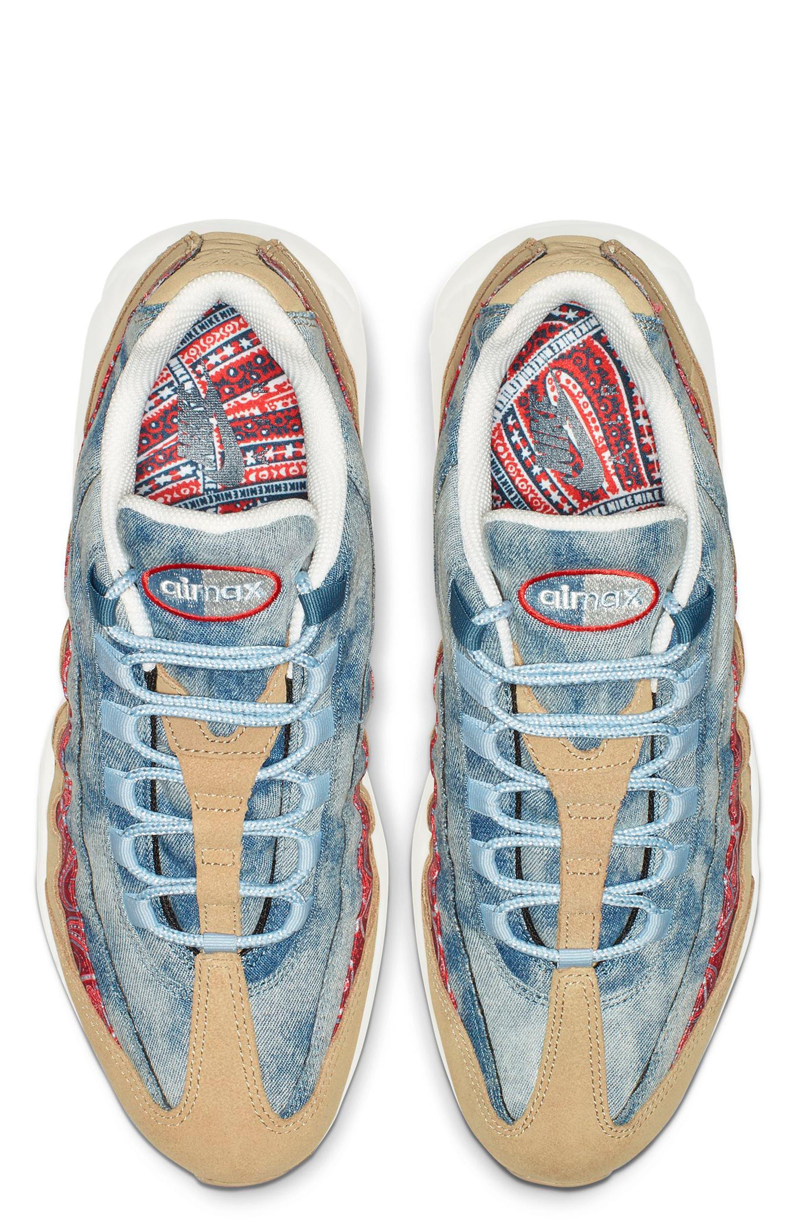Air Max 95 Sneaker,                             Alternate thumbnail 4, color,                             PARACHUTE BEIGE/ RED