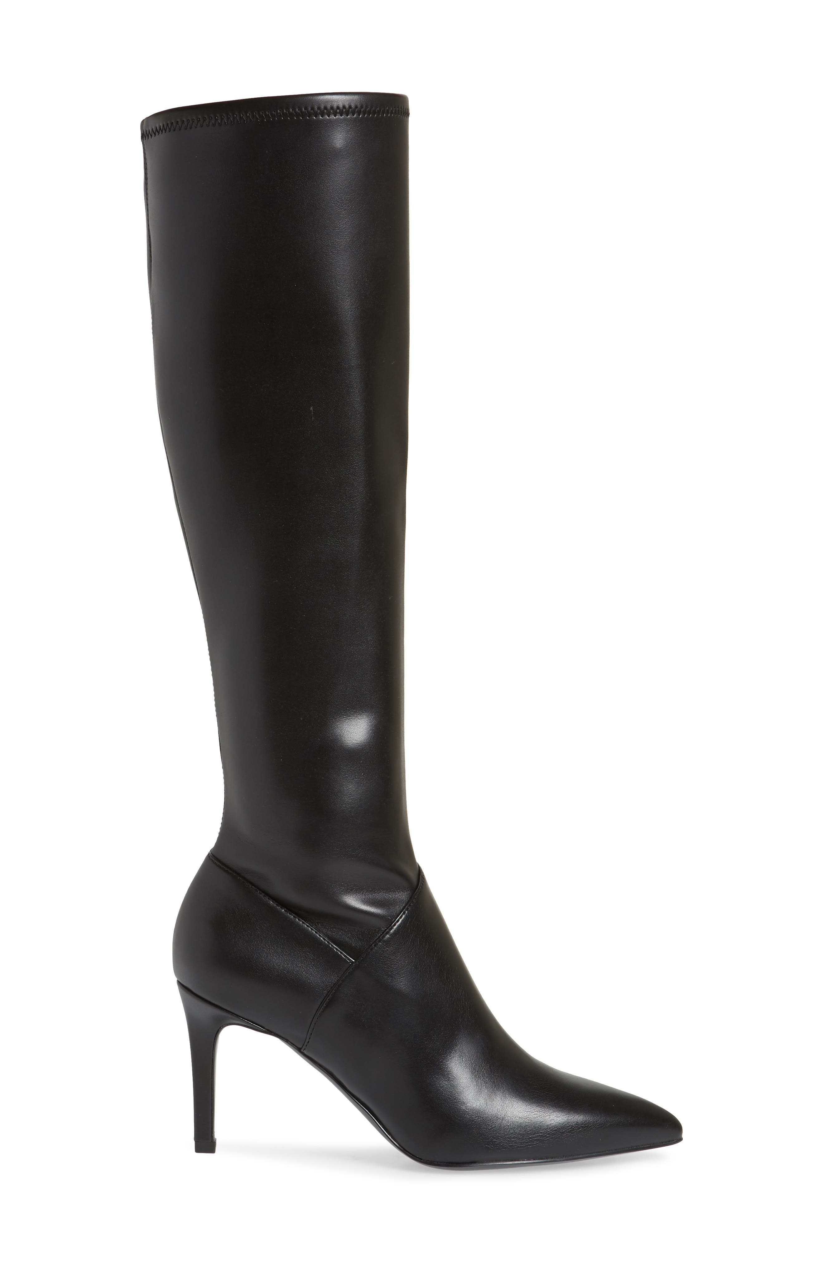 Chelsis Knee High Boot,                             Alternate thumbnail 3, color,                             BLACK FAUX LEATHER