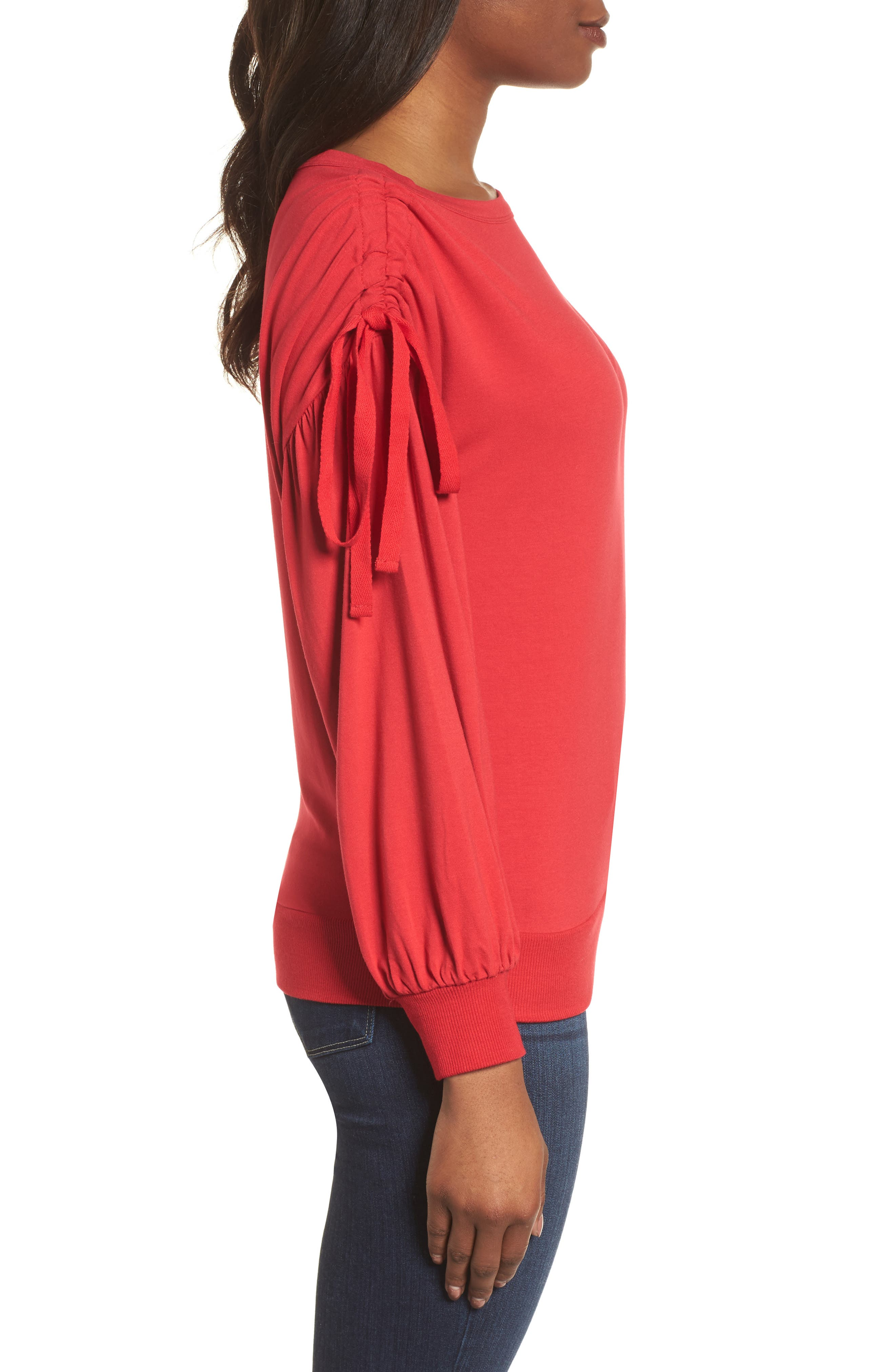 Ruched Bow Sleeve Top,                             Alternate thumbnail 12, color,