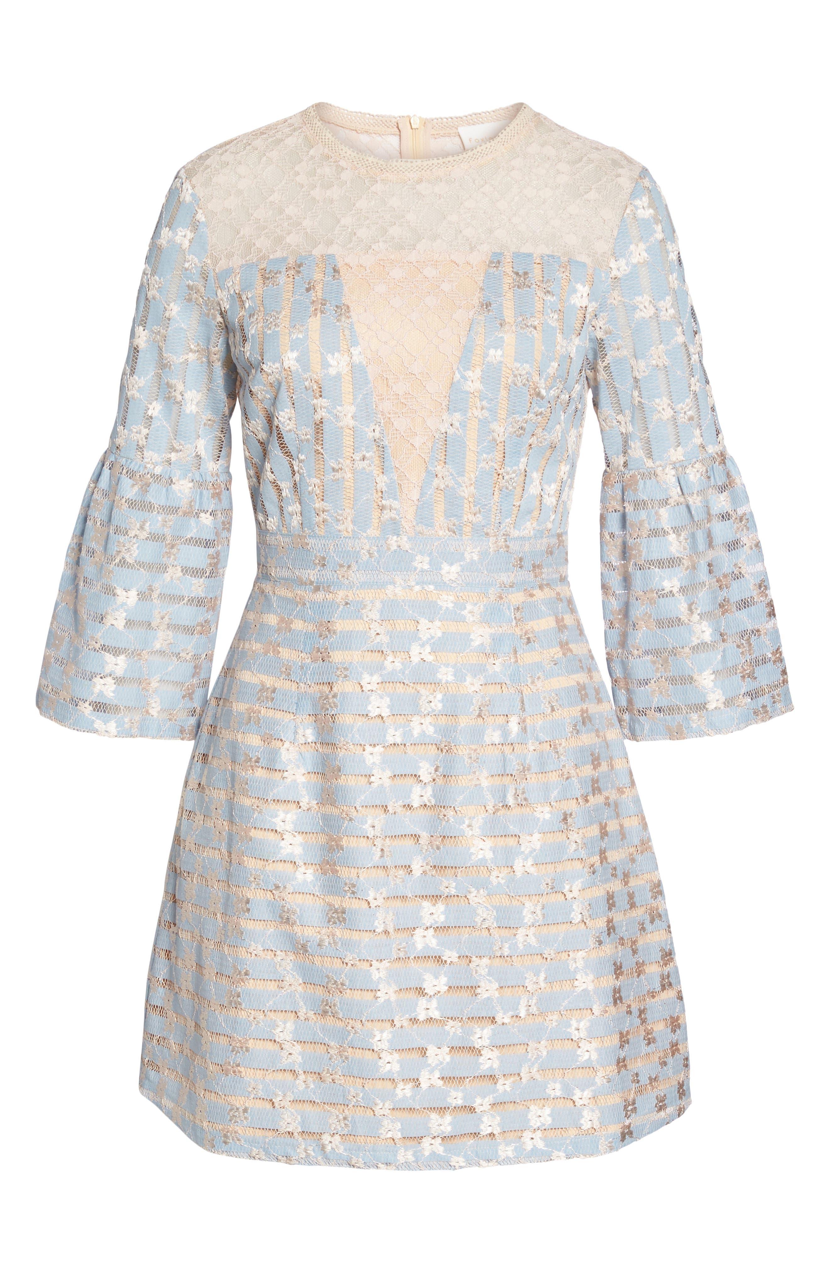 Cordelia Bell Sleeve Minidress,                             Alternate thumbnail 6, color,                             400